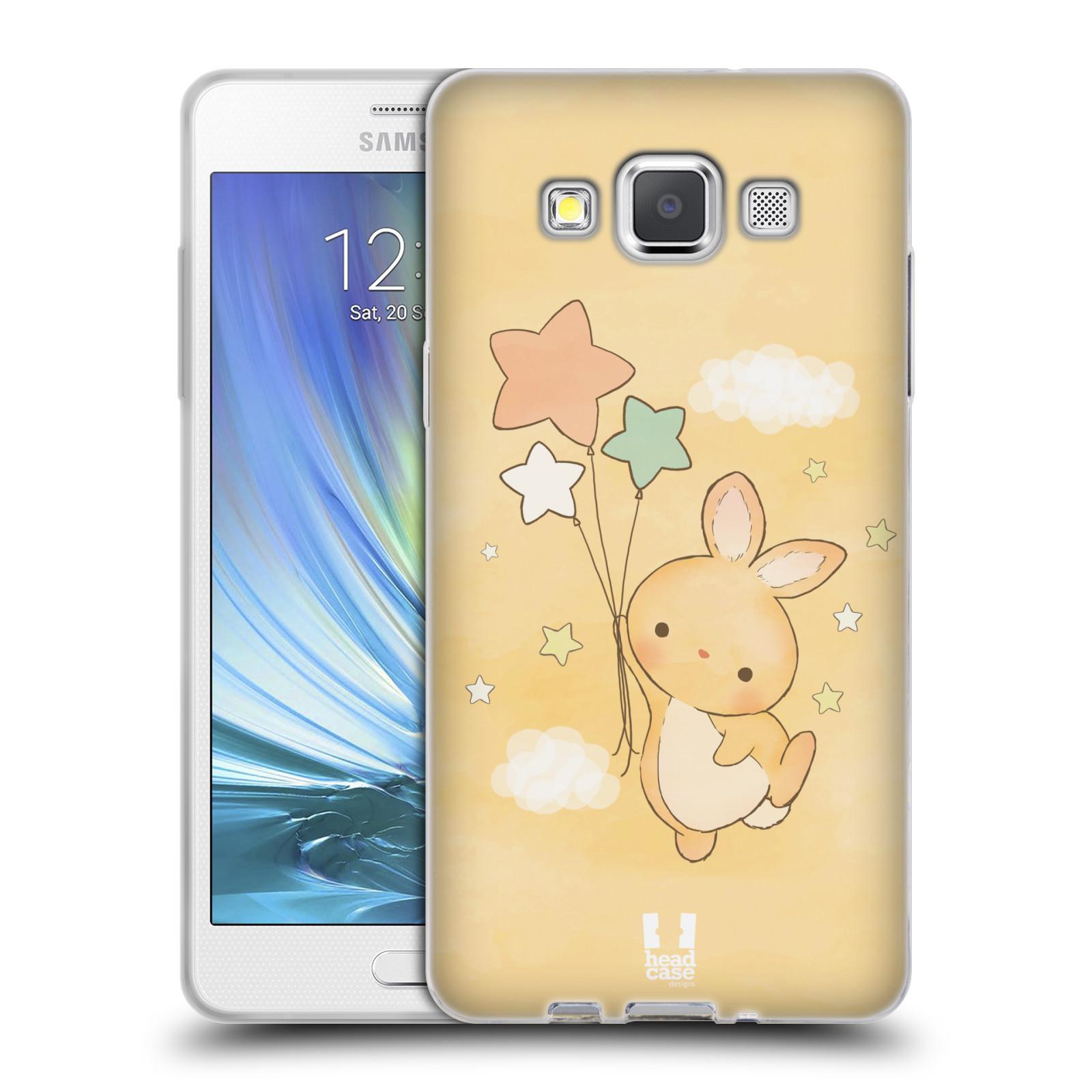 HEAD CASE silikonový obal na mobil Samsung Galaxy A5 vzor králíček a hvězdy žlutá