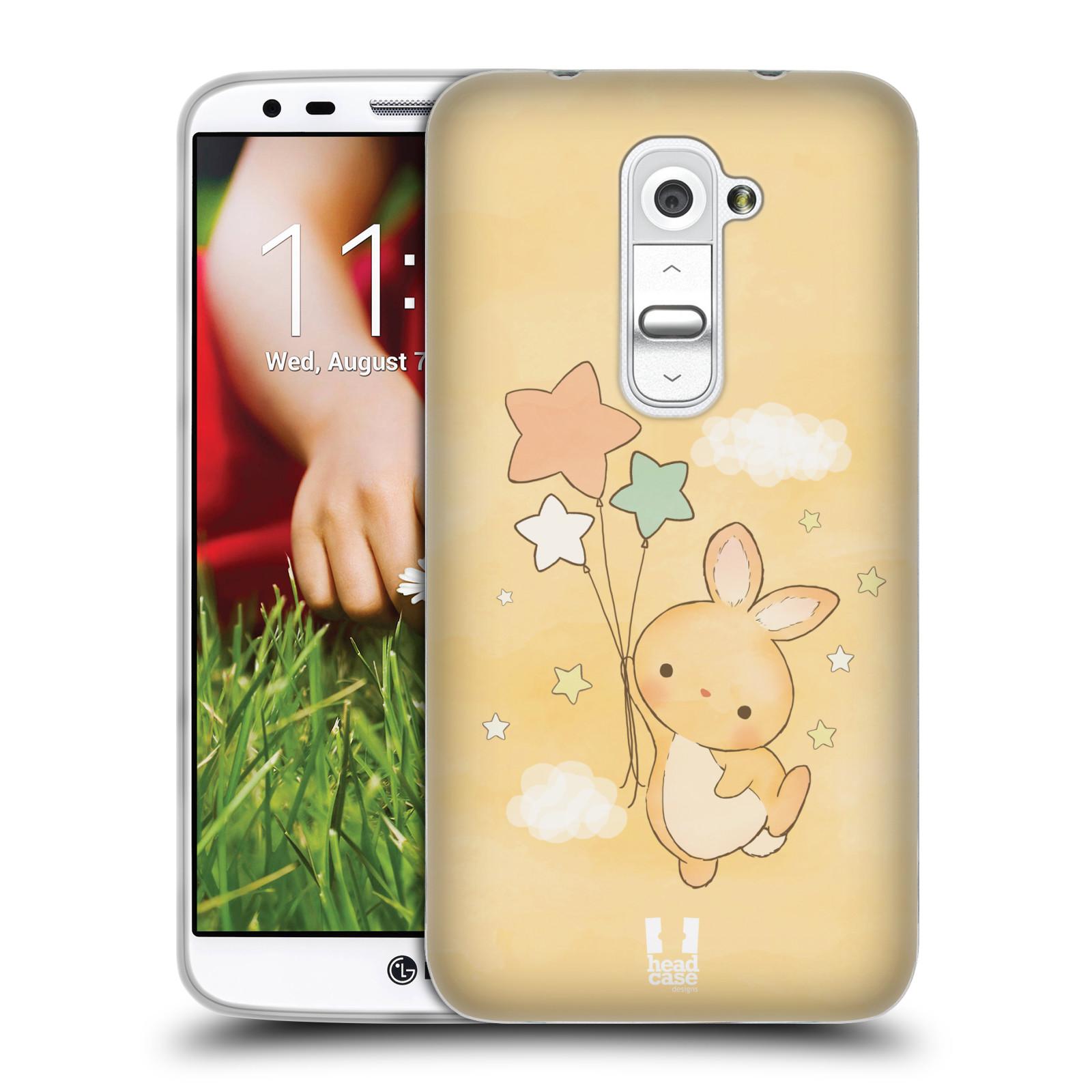 HEAD CASE silikonový obal na mobil LG G2 vzor králíček a hvězdy žlutá