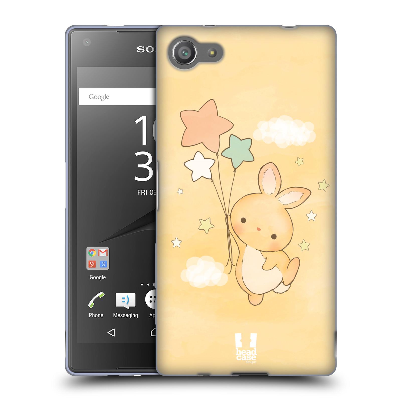 HEAD CASE silikonový obal na mobil Sony Xperia Z5 COMPACT vzor králíček a hvězdy žlutá