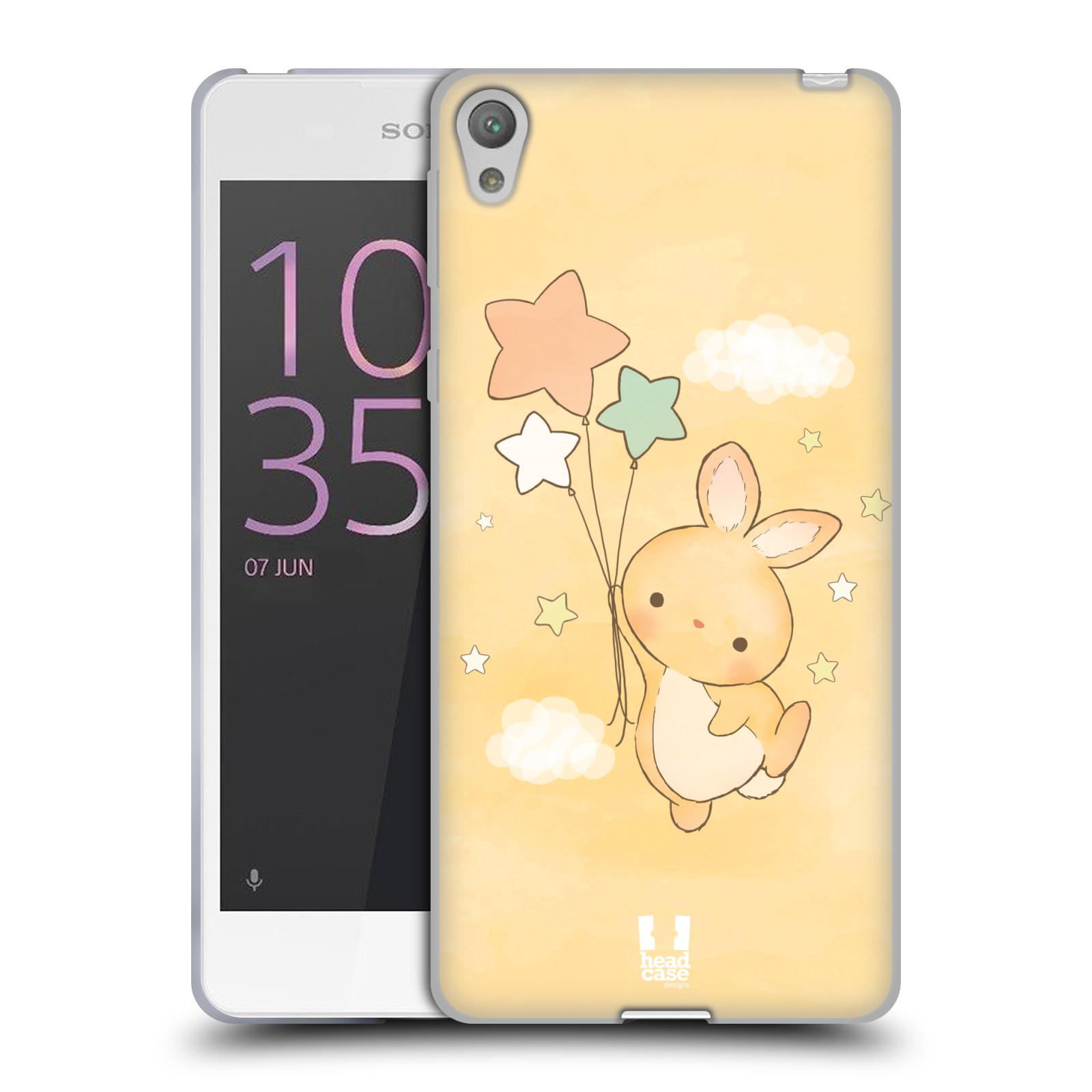 HEAD CASE silikonový obal na mobil SONY XPERIA E5 vzor králíček a hvězdy žlutá