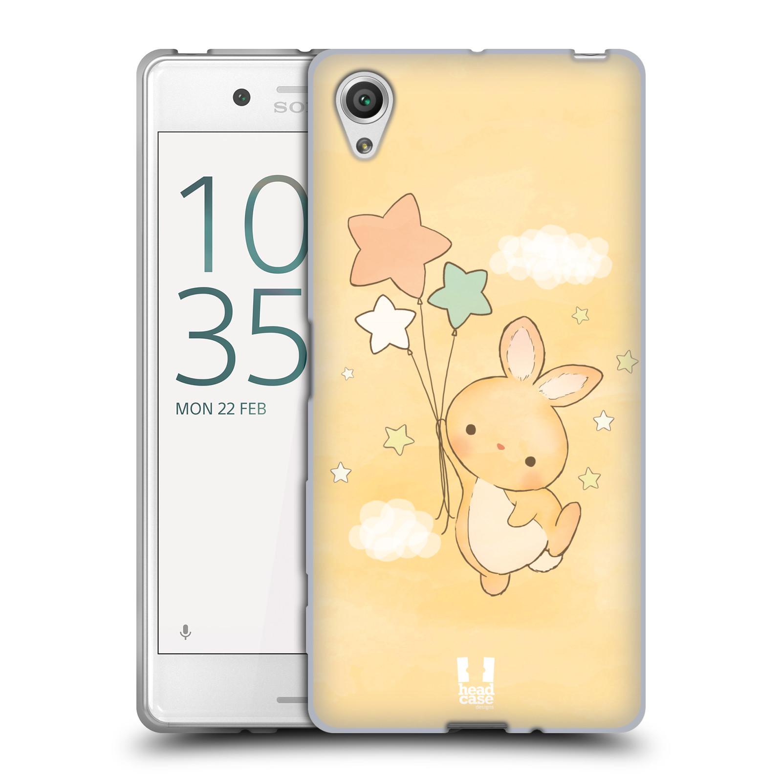 HEAD CASE silikonový obal na mobil Sony Xperia X / X DUAL vzor králíček a hvězdy žlutá
