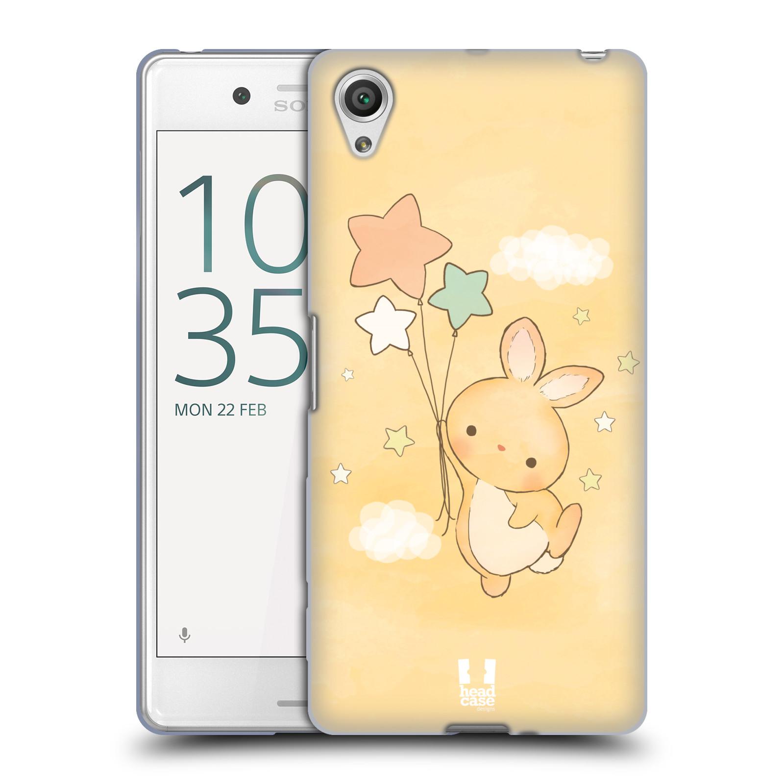 HEAD CASE silikonový obal na mobil Sony Xperia X PERFORMANCE (F8131, F8132) vzor králíček a hvězdy žlutá