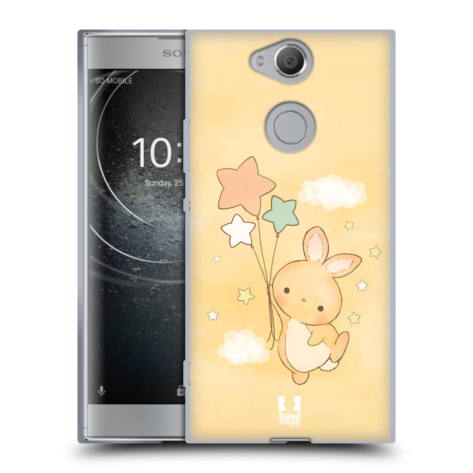 Pouzdro na mobil Sony Xperia XA2 (DUAL SIM, SINGLE SIM) vzor králíček a hvězdy žlutá