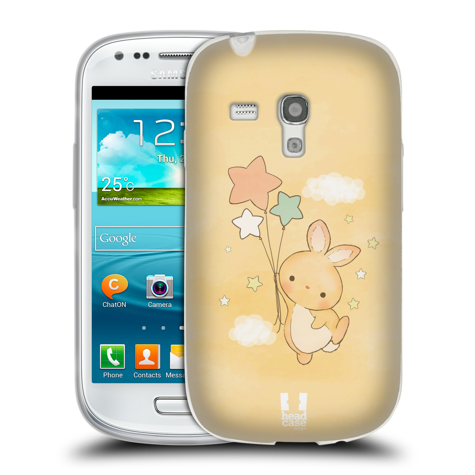 HEAD CASE silikonový obal na mobil Samsung Galaxy S3 MINI i8190 vzor králíček a hvězdy žlutá