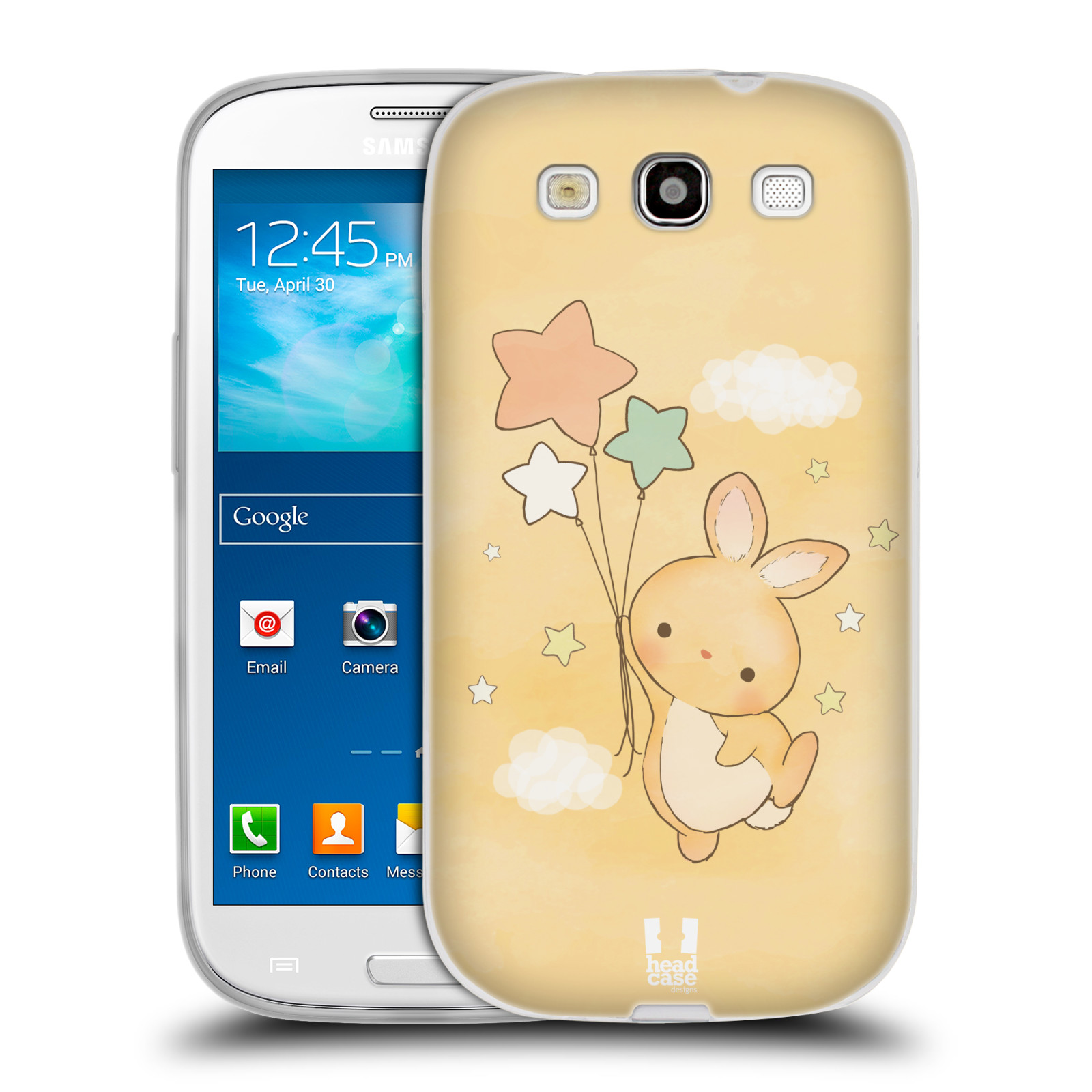 HEAD CASE silikonový obal na mobil Samsung Galaxy S3 i9300 vzor králíček a hvězdy žlutá