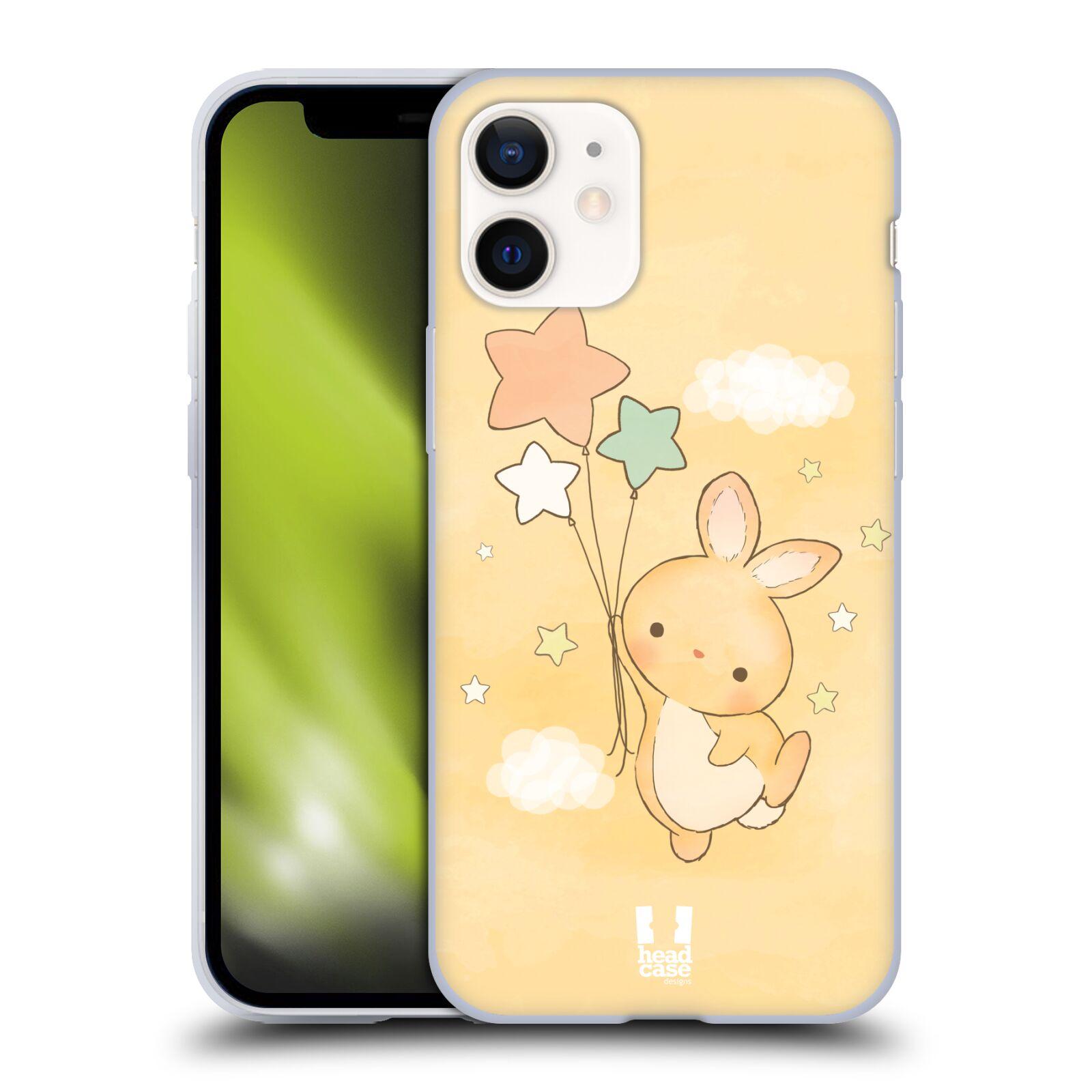 Plastový obal na mobil Apple Iphone 12 MINI vzor králíček a hvězdy žlutá