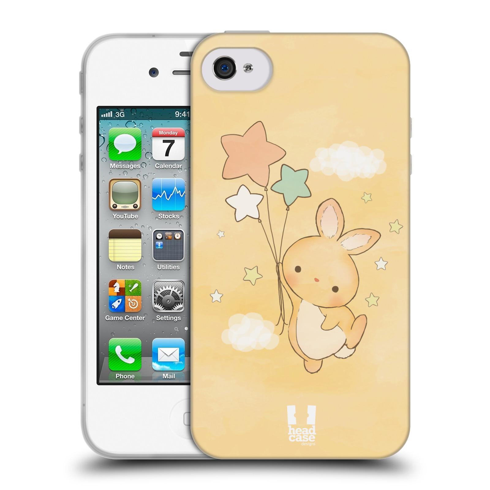 HEAD CASE silikonový obal na mobil Apple Iphone 4/4S vzor králíček a hvězdy žlutá