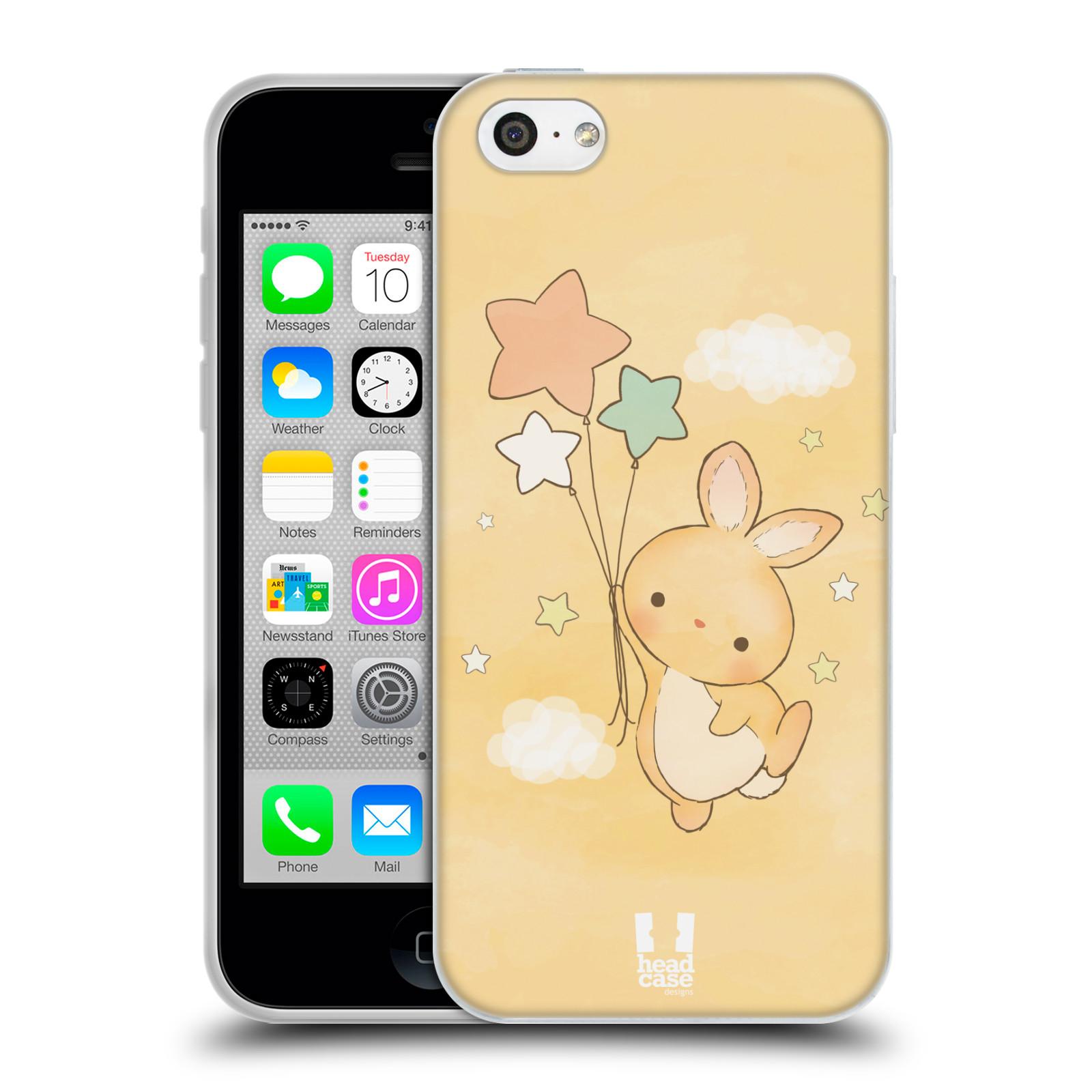 HEAD CASE silikonový obal na mobil Apple Iphone 5C vzor králíček a hvězdy žlutá