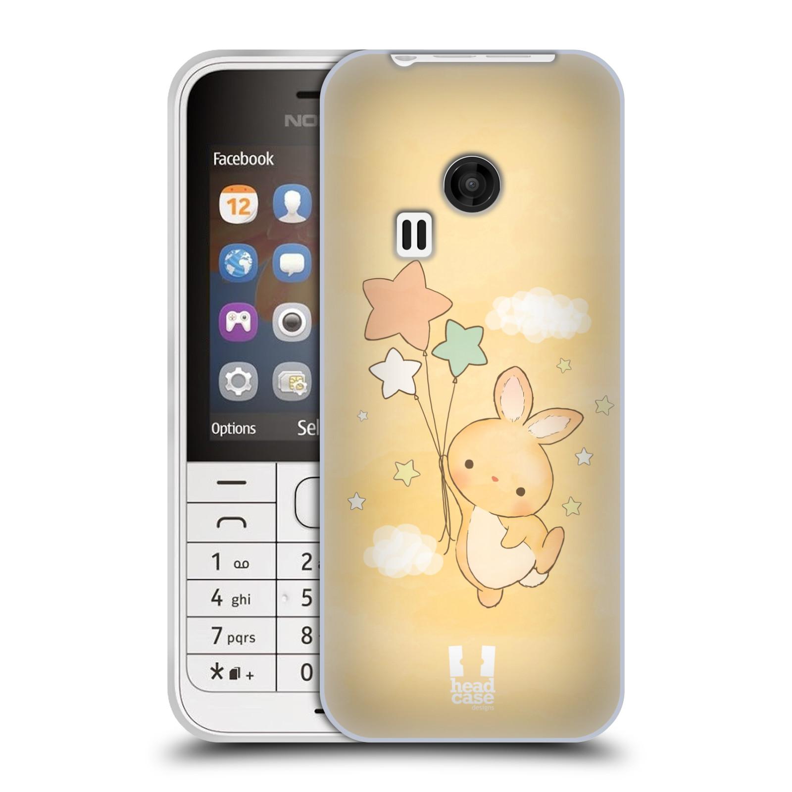 HEAD CASE silikonový obal na mobil NOKIA 220 / NOKIA 220 DUAL SIM vzor králíček a hvězdy žlutá