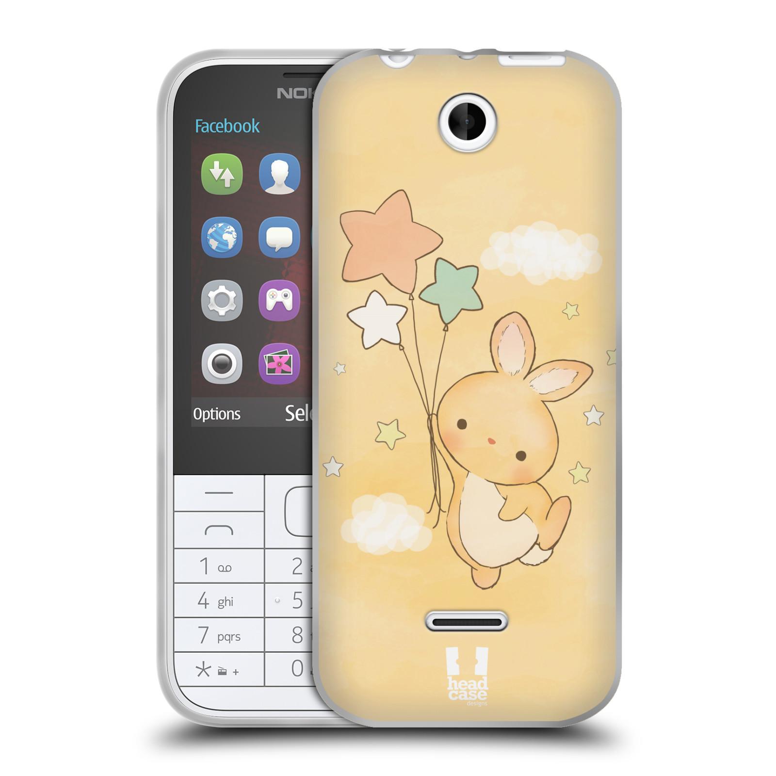HEAD CASE silikonový obal na mobil NOKIA 225 / NOKIA 225 DUAL SIM vzor králíček a hvězdy žlutá