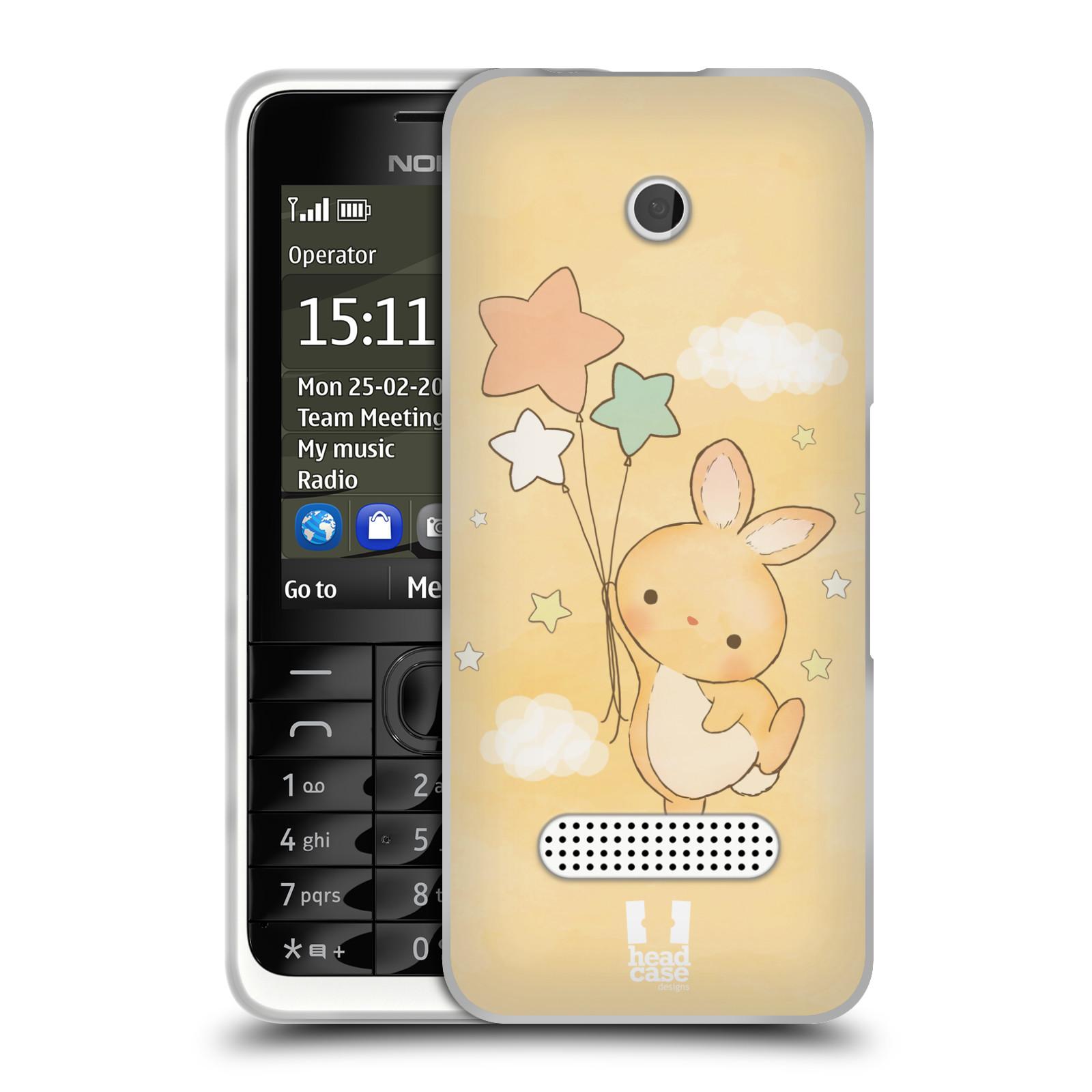 HEAD CASE silikonový obal na mobil NOKIA 301 vzor králíček a hvězdy žlutá