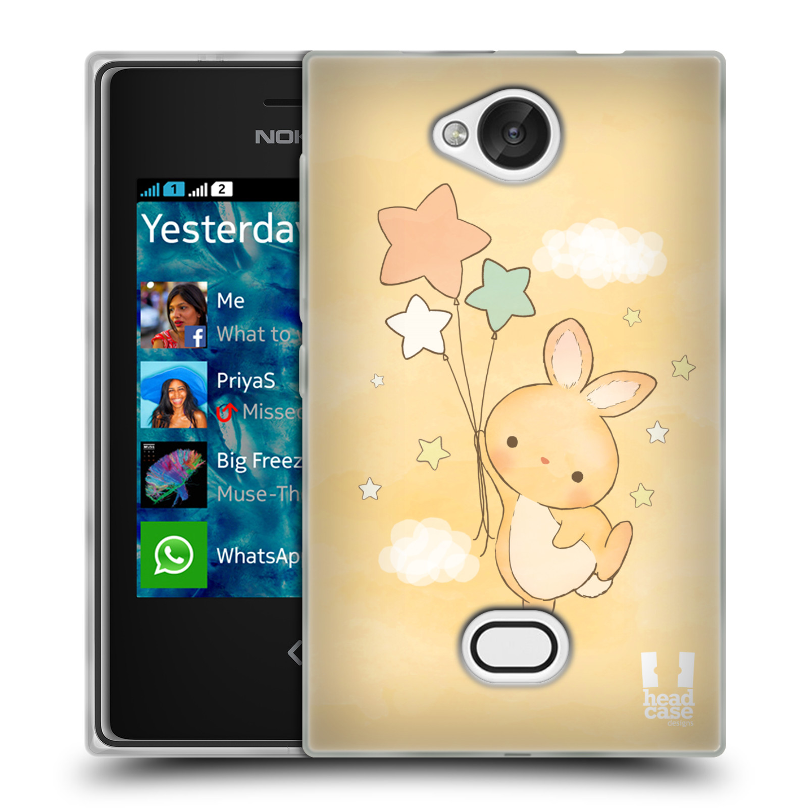 HEAD CASE silikonový obal na mobil NOKIA Asha 503 vzor králíček a hvězdy žlutá