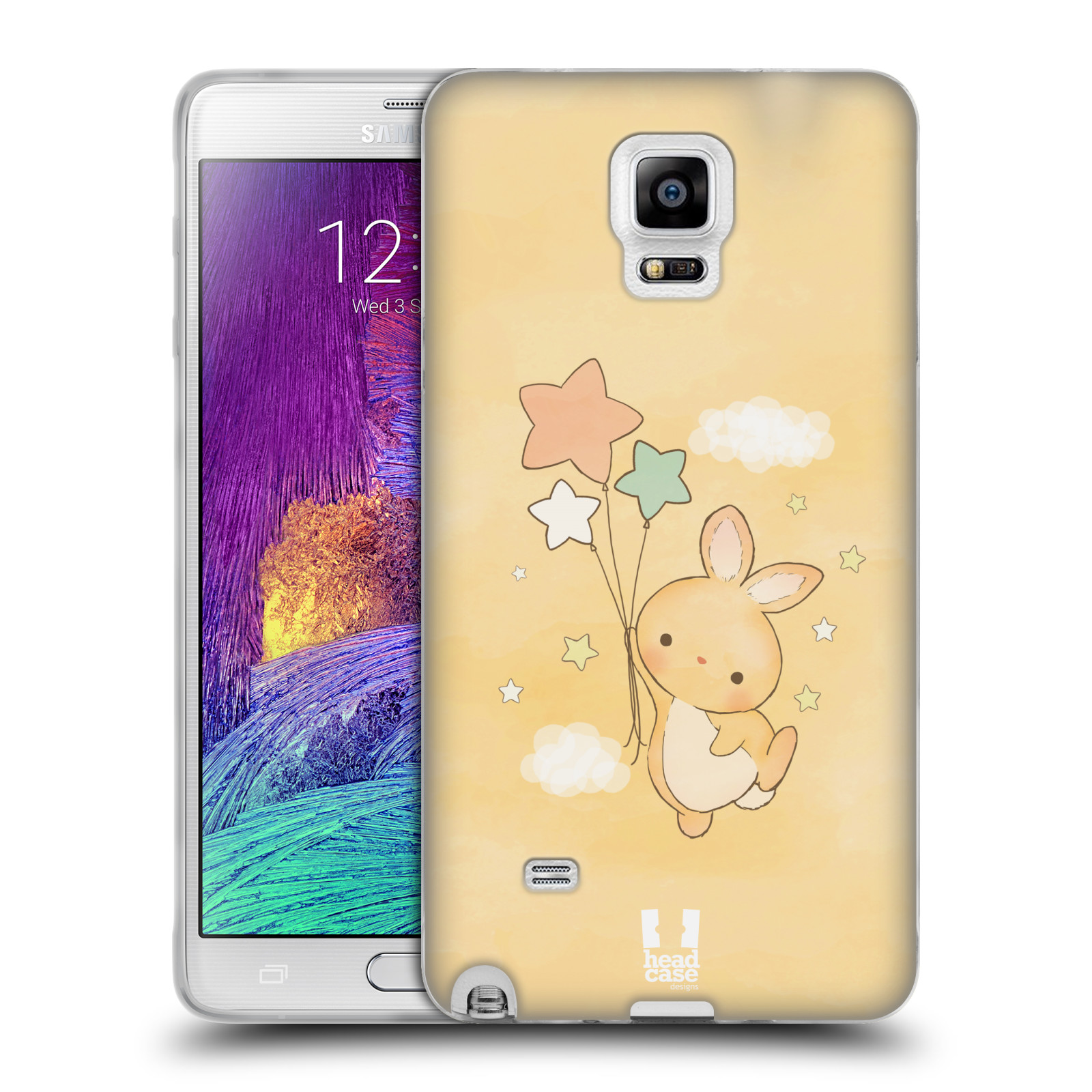 HEAD CASE silikonový obal na mobil Samsung Galaxy Note 4 (N910) vzor králíček a hvězdy žlutá