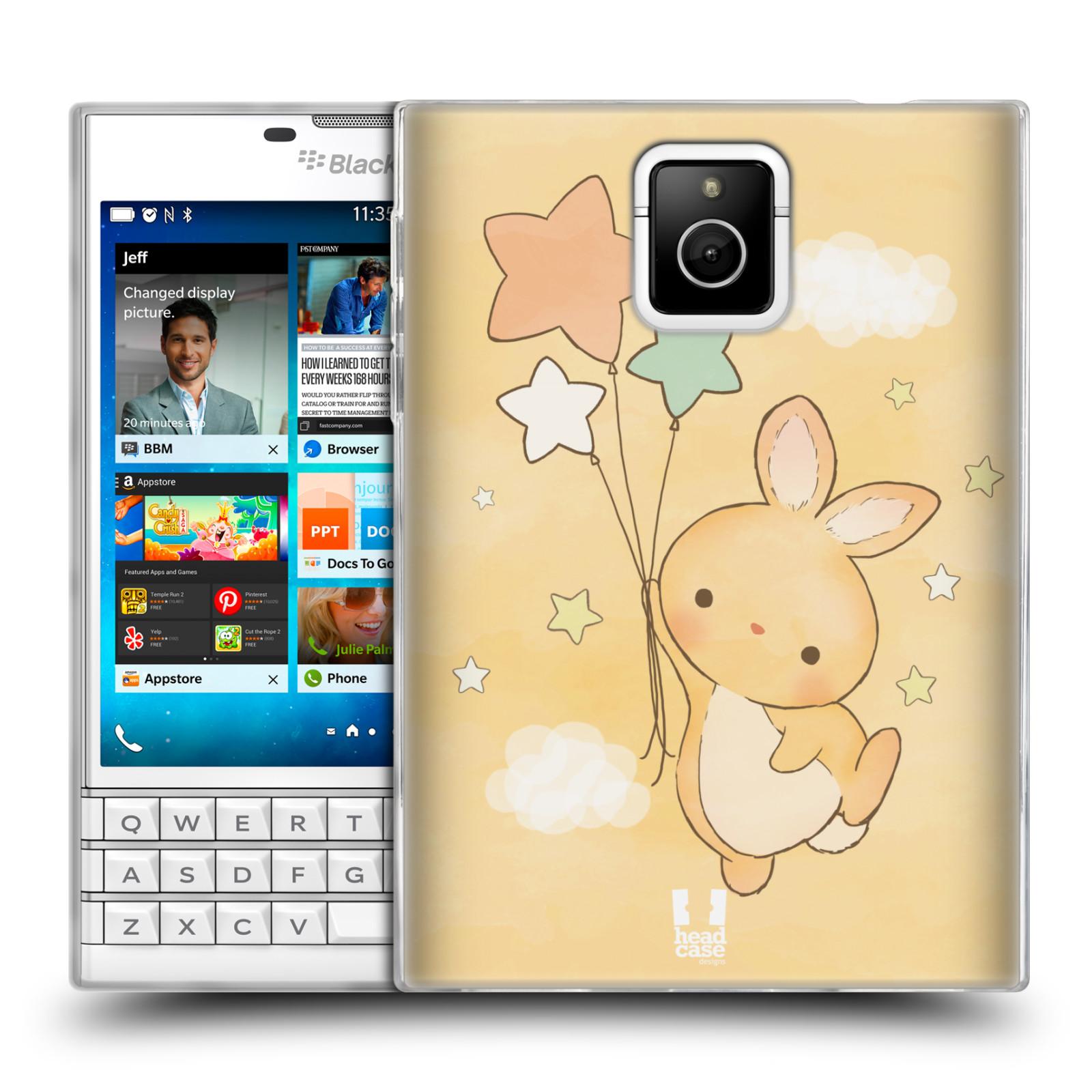 HEAD CASE silikonový obal na mobil Blackberry PASSPORT vzor králíček a hvězdy žlutá
