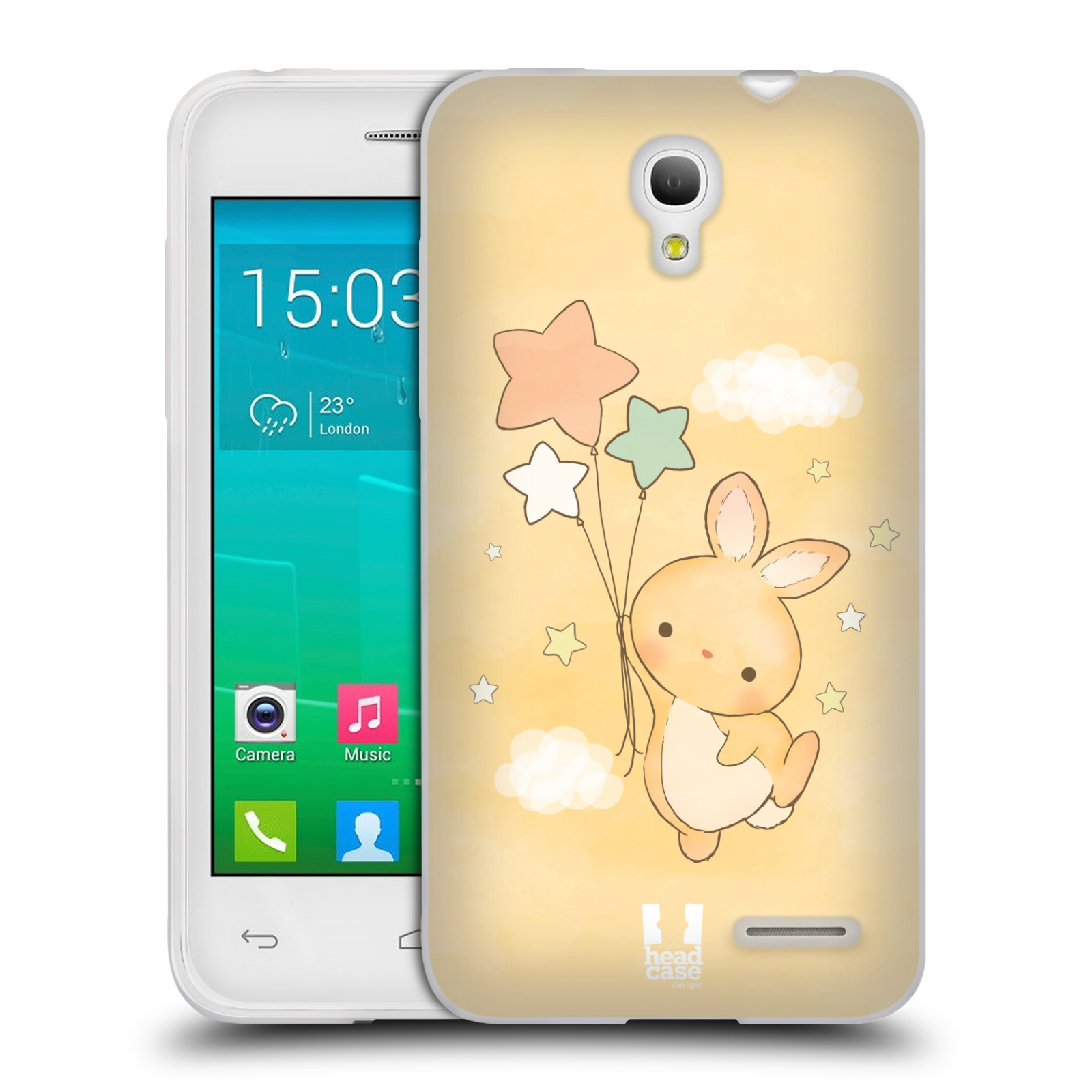 HEAD CASE silikonový obal na mobil Alcatel POP S3 OT-5050Y vzor králíček a hvězdy žlutá