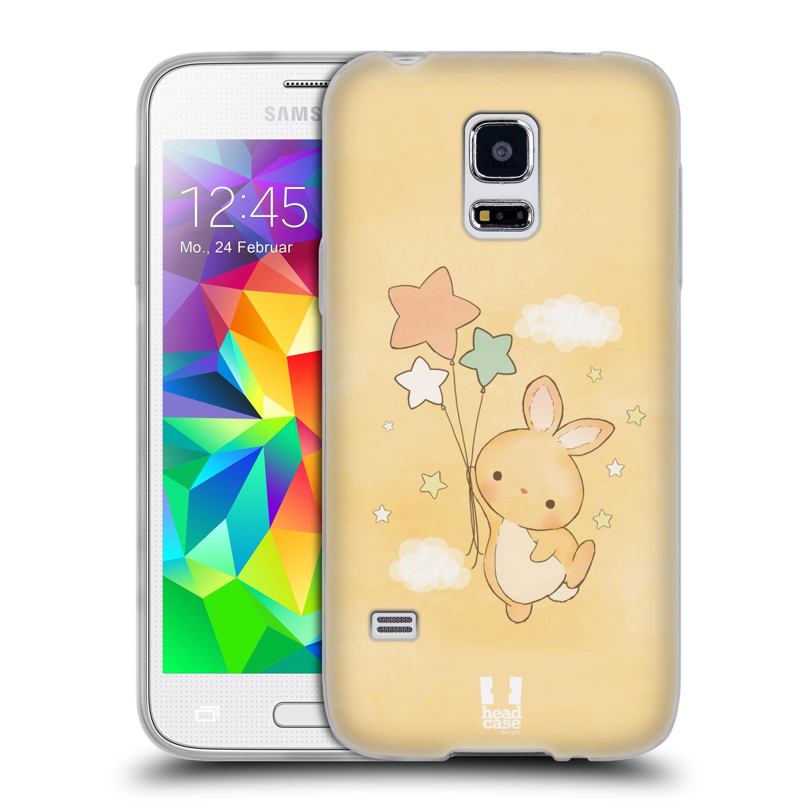 HEAD CASE silikonový obal na mobil Samsung Galaxy S5 MINI vzor králíček a hvězdy žlutá