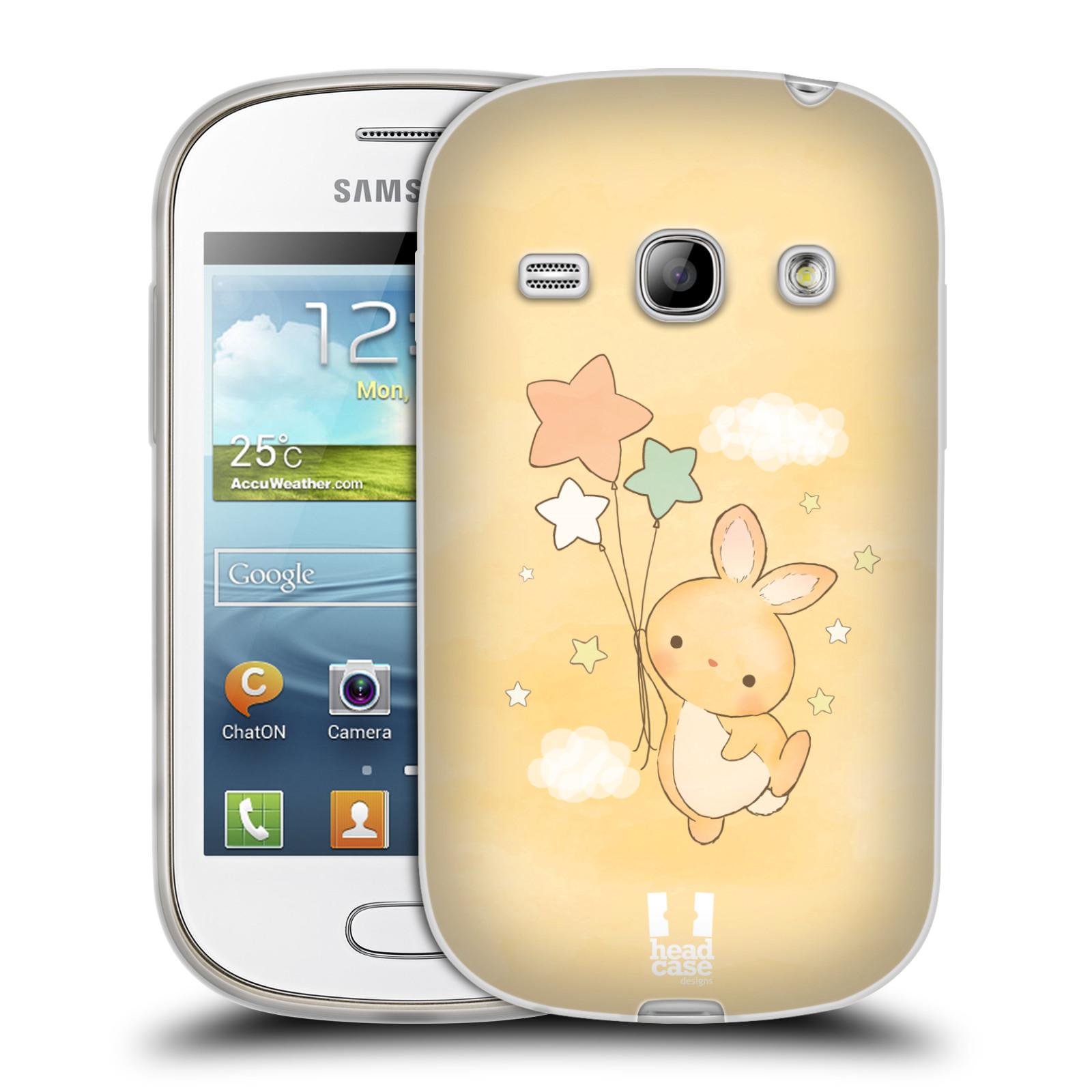 HEAD CASE silikonový obal na mobil Samsung Galaxy FAME vzor králíček a hvězdy žlutá