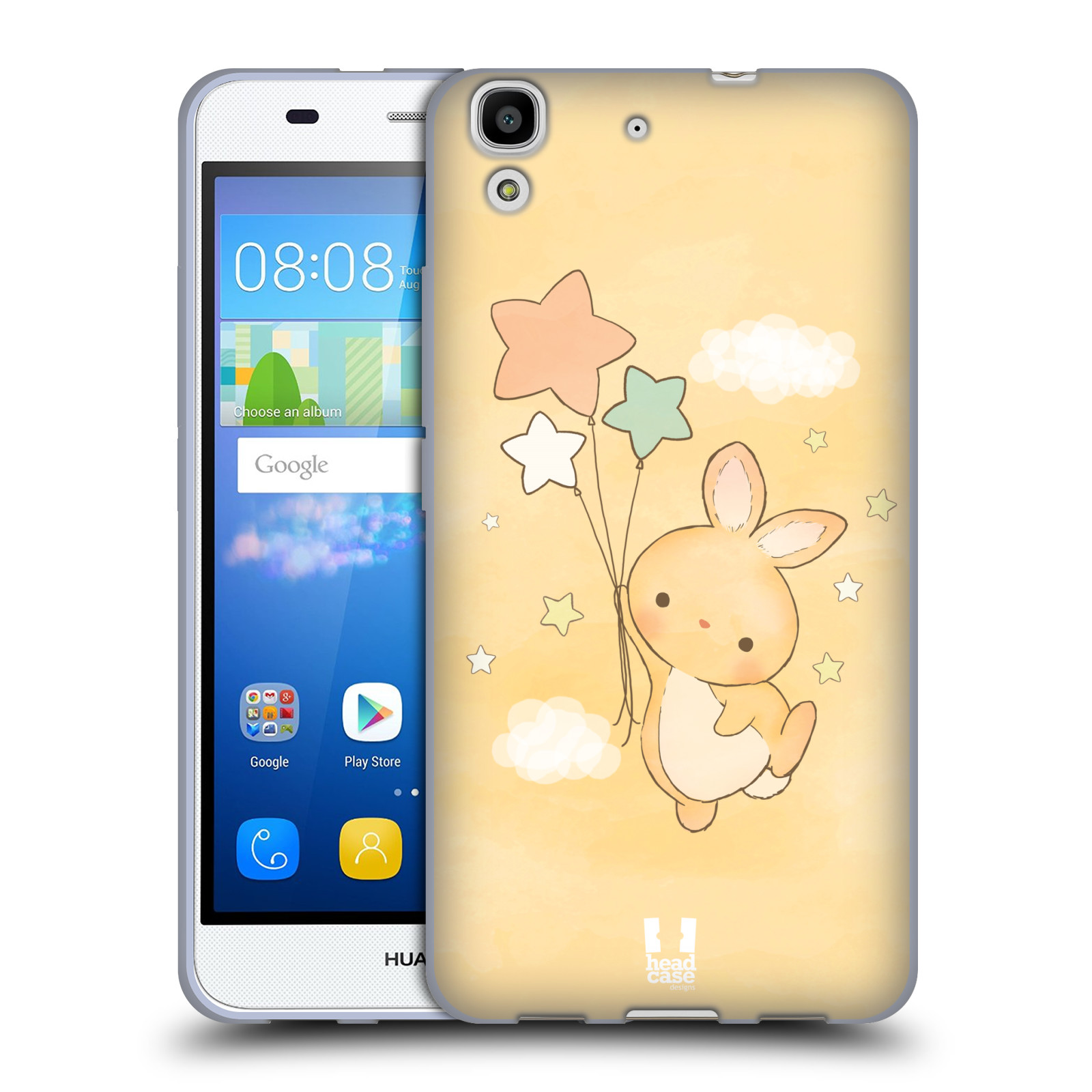 HEAD CASE silikonový obal na mobil HUAWEI Y6 vzor králíček a hvězdy žlutá