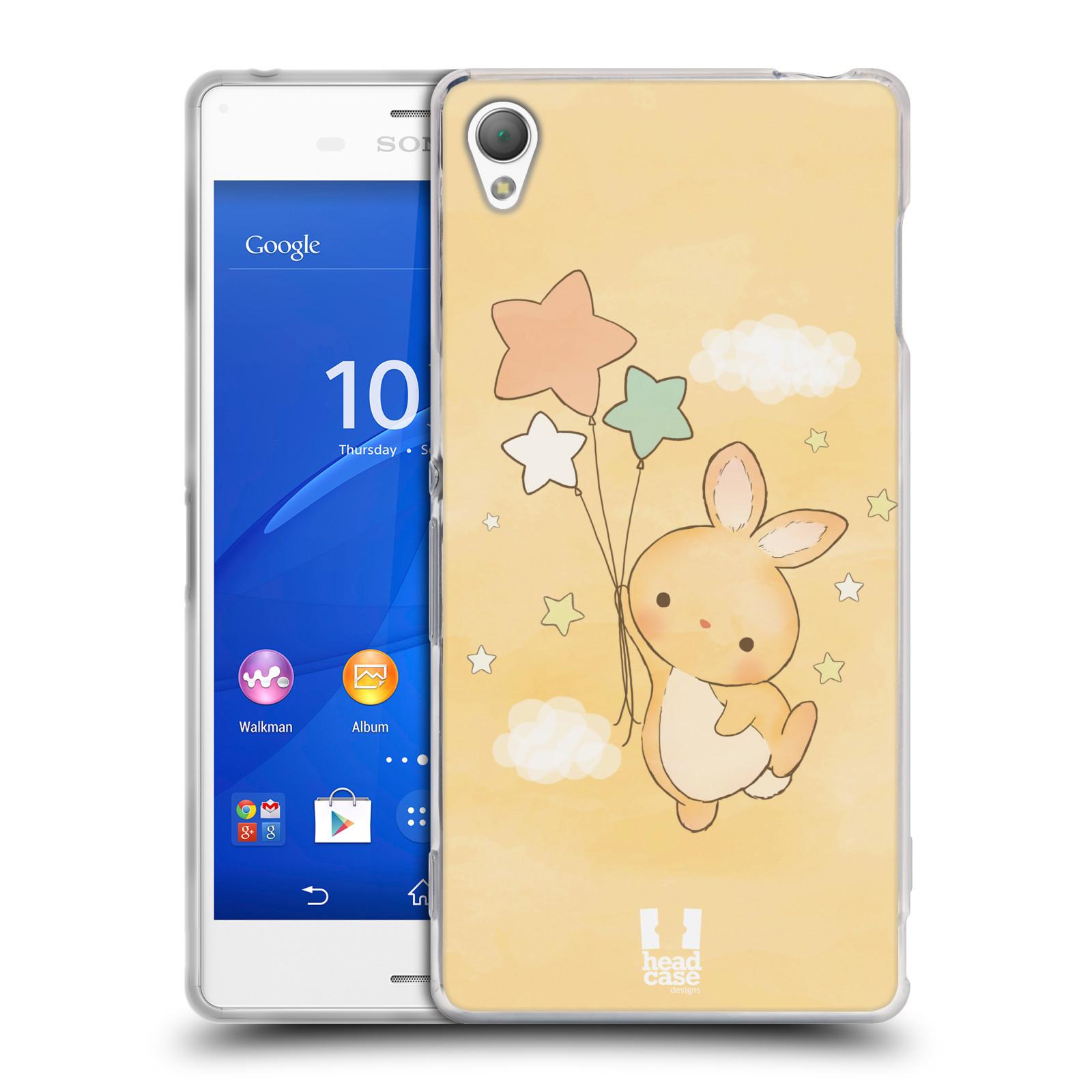 HEAD CASE silikonový obal na mobil Sony Xperia Z3 vzor králíček a hvězdy žlutá