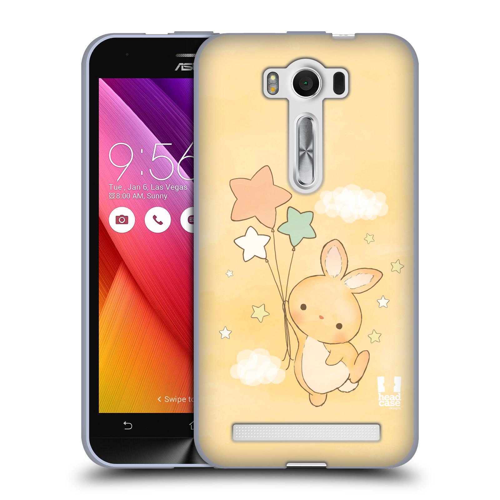 """HEAD CASE silikonový obal na mobil Asus Zenfone 2 LASER (ZE500KL s 5"""" displejem) vzor králíček a hvězdy žlutá"""