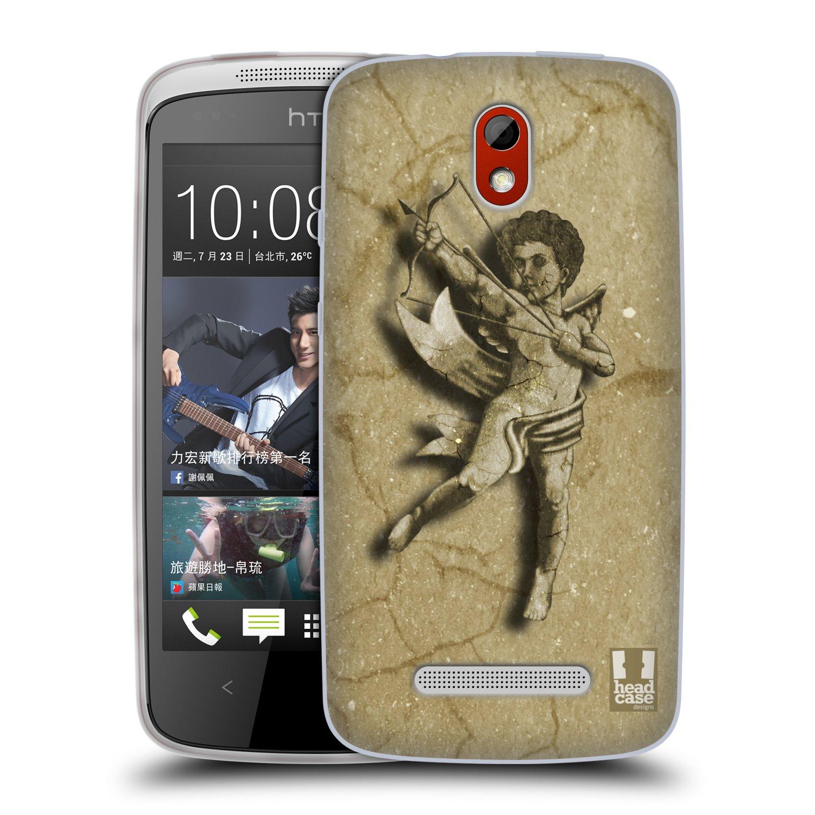 HEAD CASE silikonový obal na mobil HTC DESIRE 500 vzor Andělé z kamene LANCELOT