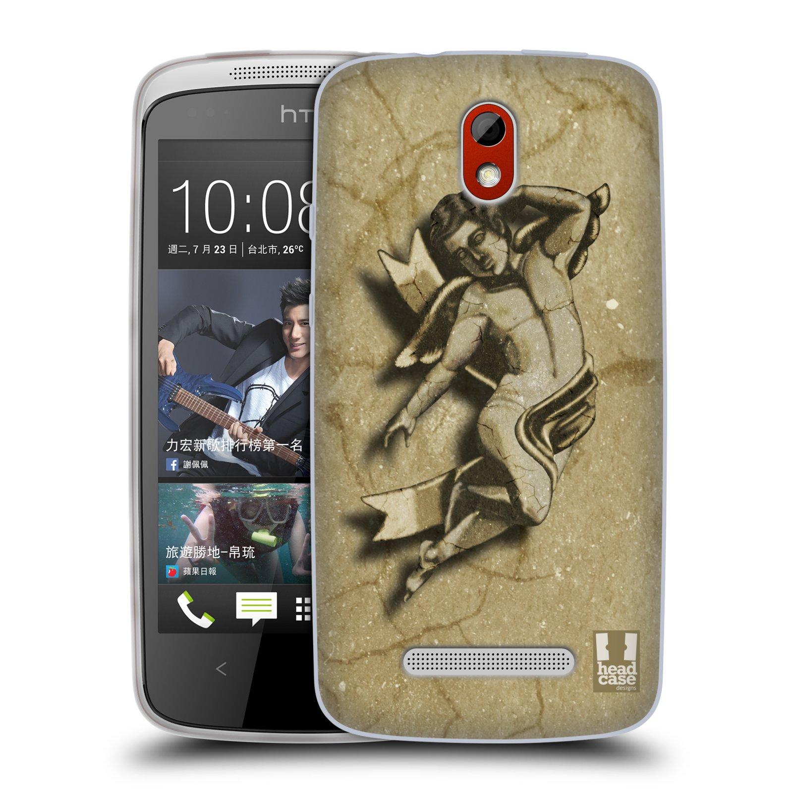 HEAD CASE silikonový obal na mobil HTC DESIRE 500 vzor Andělé z kamene LAYLAND
