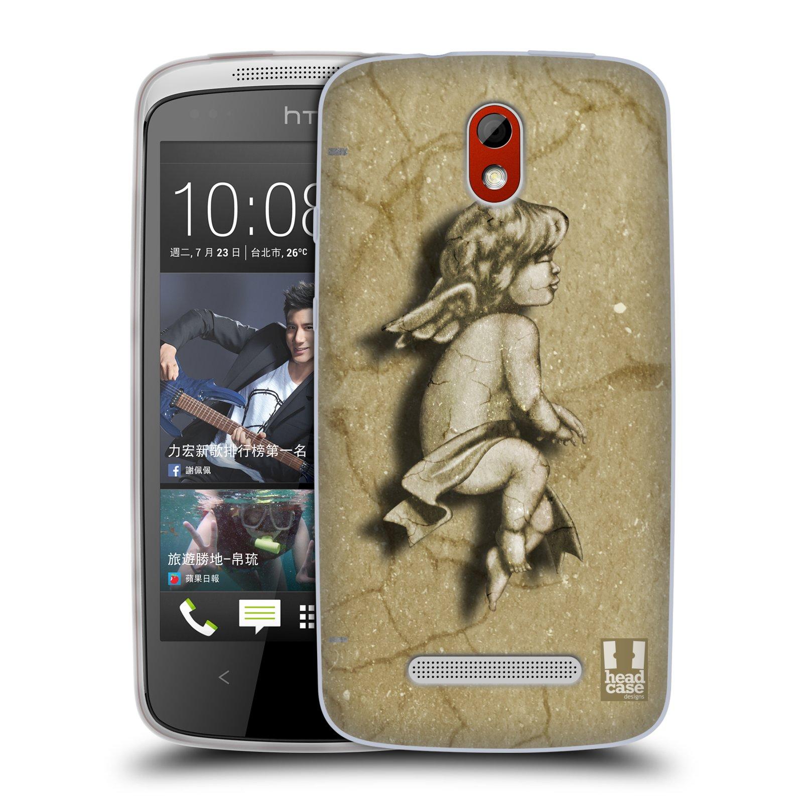 HEAD CASE silikonový obal na mobil HTC DESIRE 500 vzor Andělé z kamene LAZAR