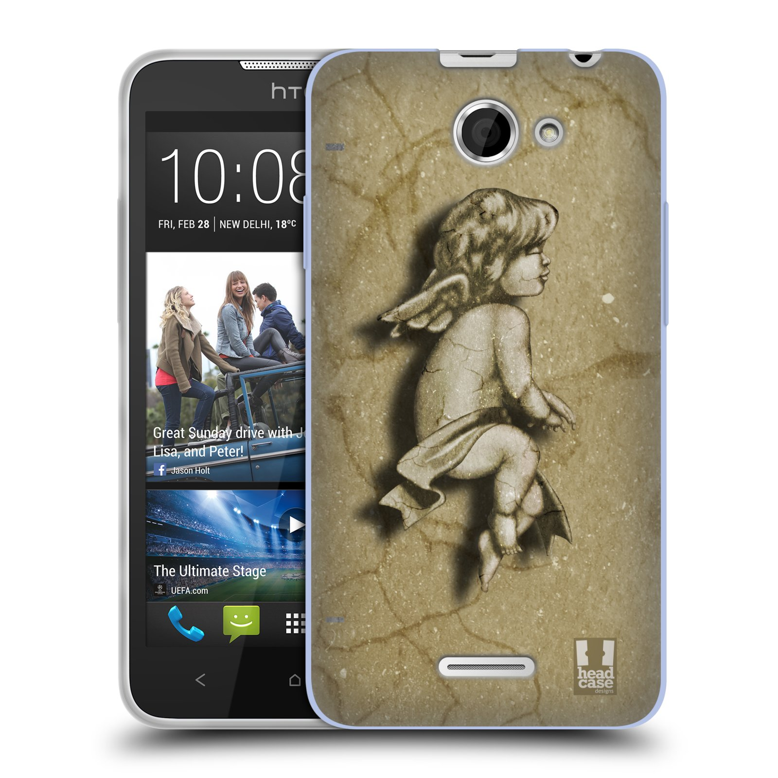 HEAD CASE silikonový obal na mobil HTC DESIRE 516 vzor Andělé z kamene LAZAR