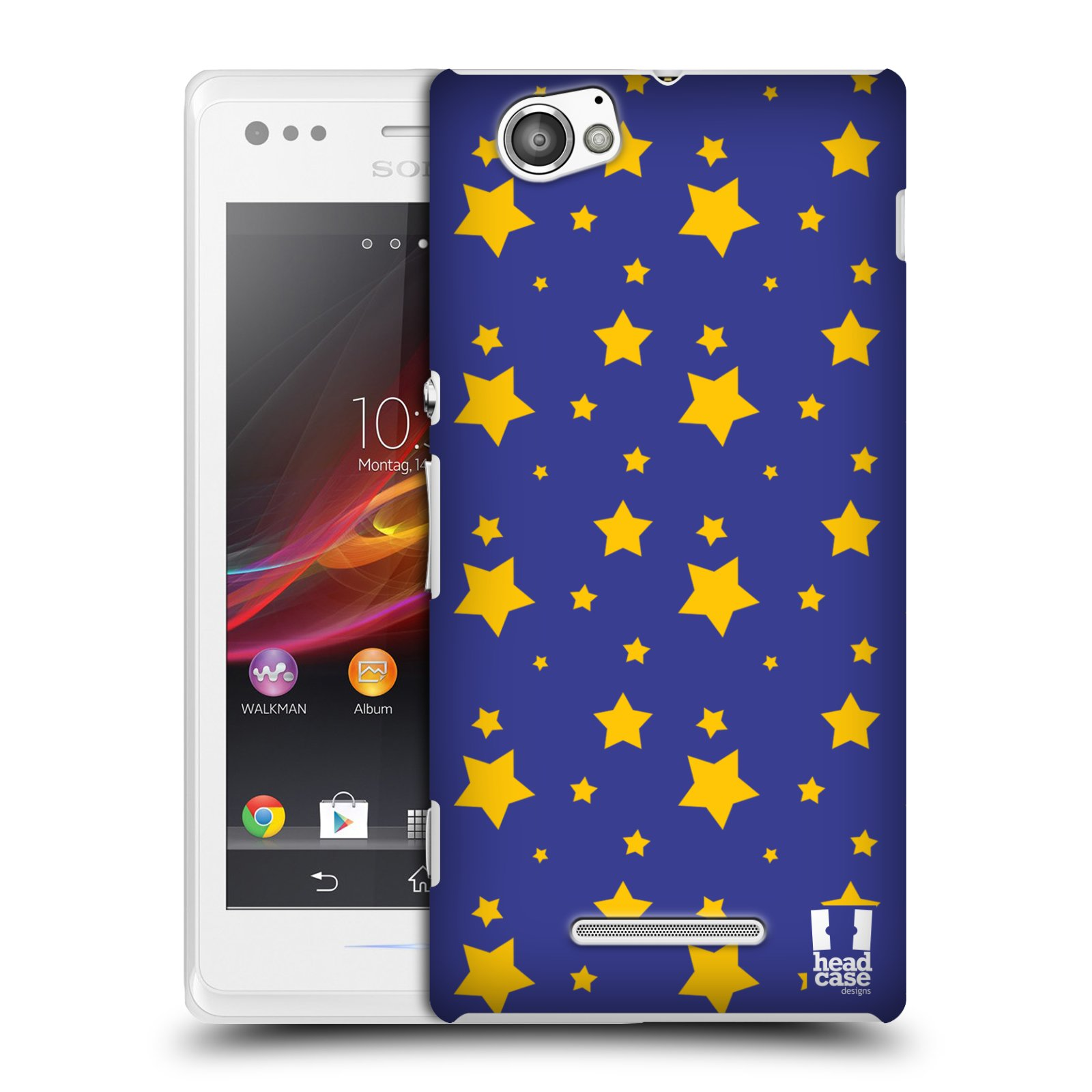 HEAD CASE DESIGNS STAR PATTERN CASE COVER FOR SONY XPERIA M C1905 C1904