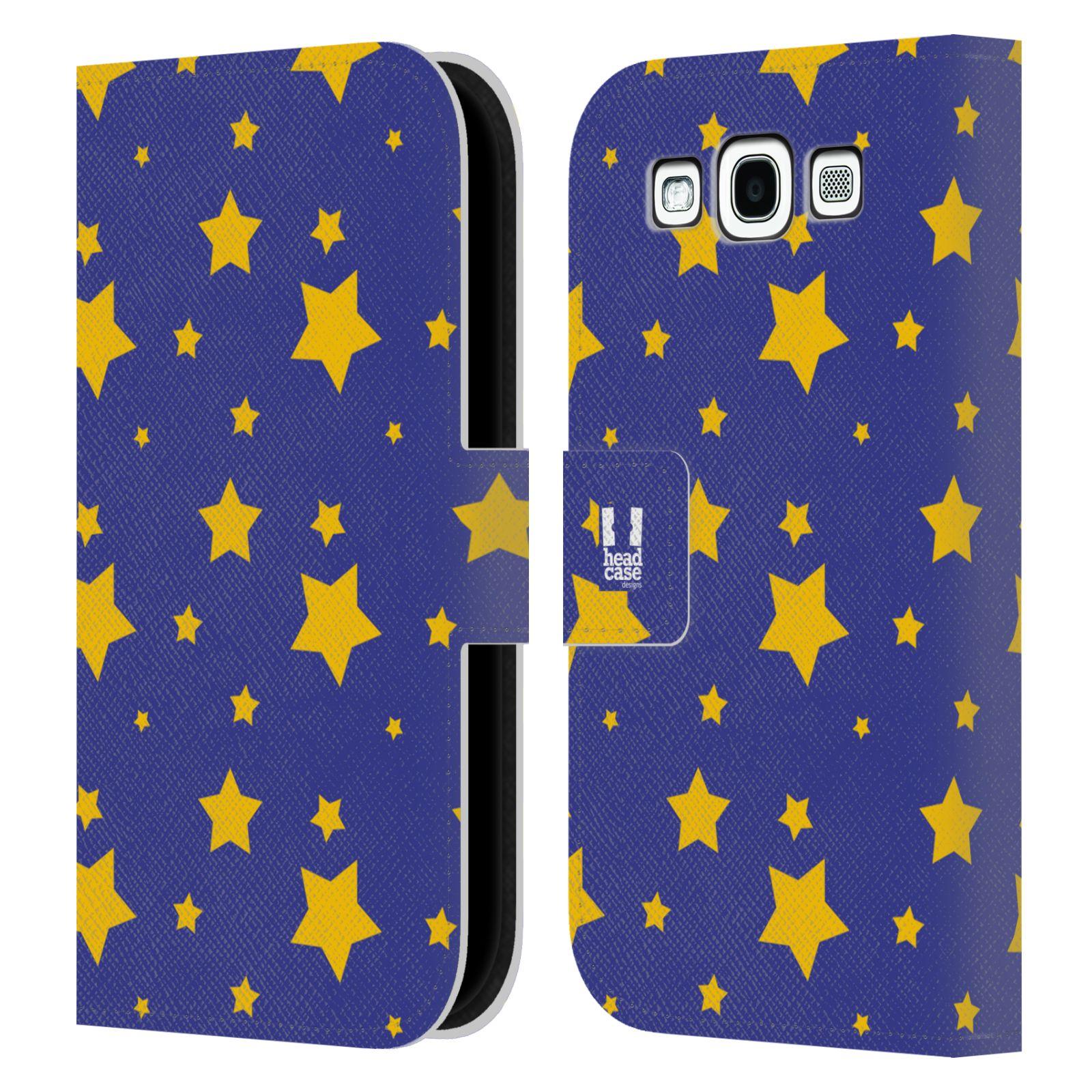 HEAD CASE Flipové pouzdro pro mobil Samsung Galaxy S3 vzor hvězdičky modrá a žlutá