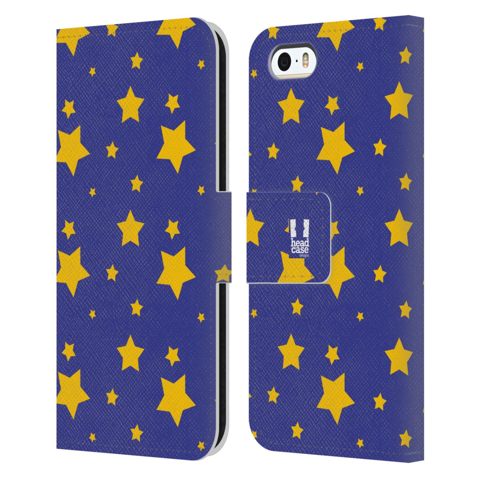 HEAD CASE Flipové pouzdro pro mobil Apple Iphone 5/5s vzor hvězdičky modrá a žlutá