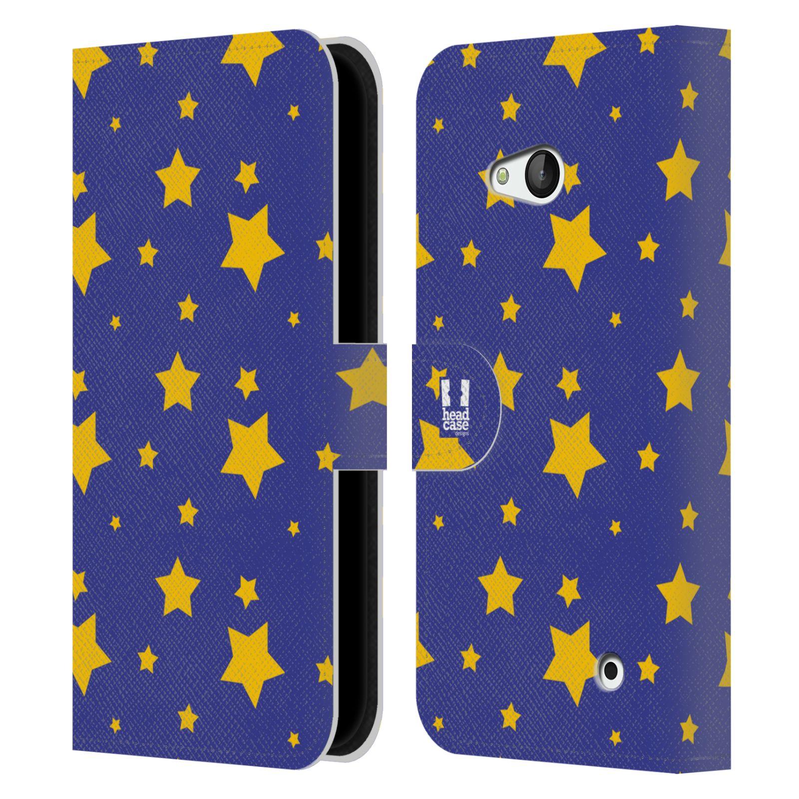 HEAD CASE Flipové pouzdro pro mobil NOKIA / MICROSOFT LUMIA 640 / LUMIA 640 DUAL vzor hvězdičky modrá a žlutá