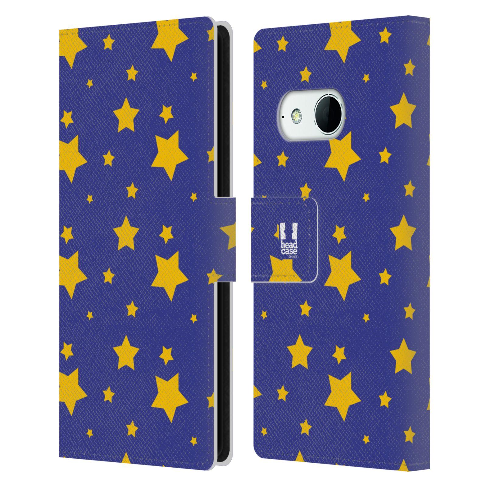 HEAD CASE Flipové pouzdro pro mobil HTC ONE MINI 2 (M8) vzor hvězdičky modrá a žlutá