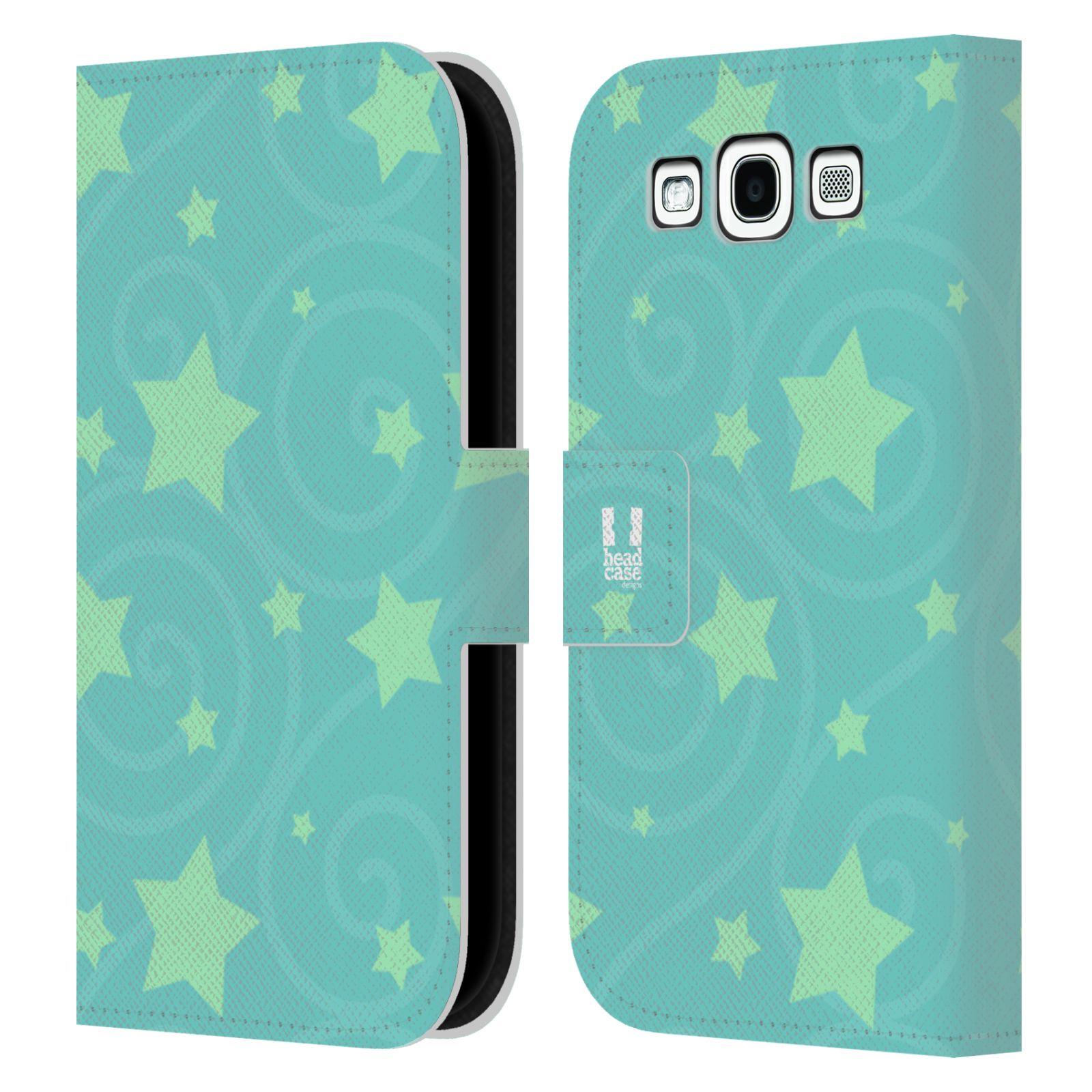 HEAD CASE Flipové pouzdro pro mobil Samsung Galaxy S3 vzor hvězdičky modrá