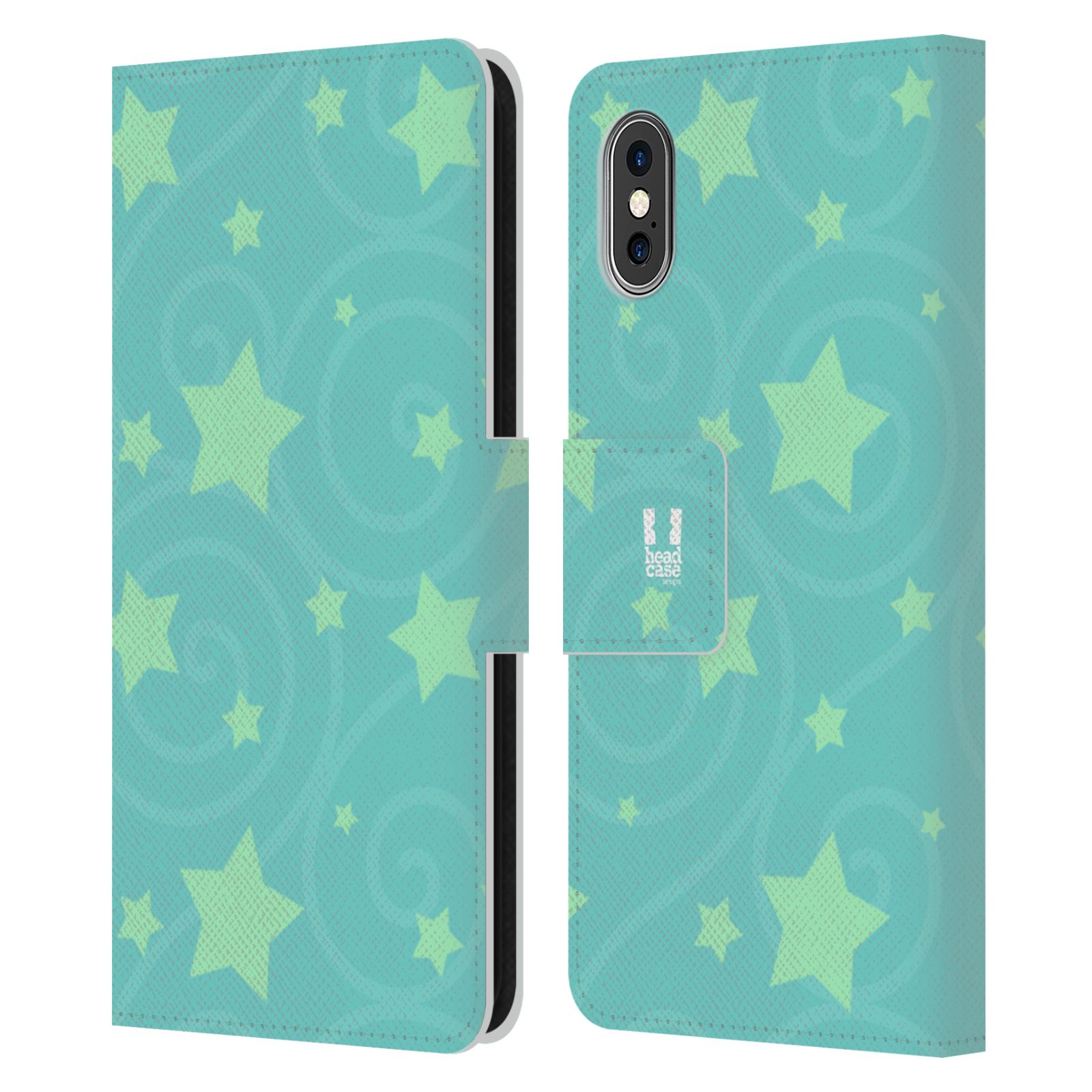 HEAD CASE Flipové pouzdro pro mobil Apple Iphone X / XS vzor hvězdičky modrá