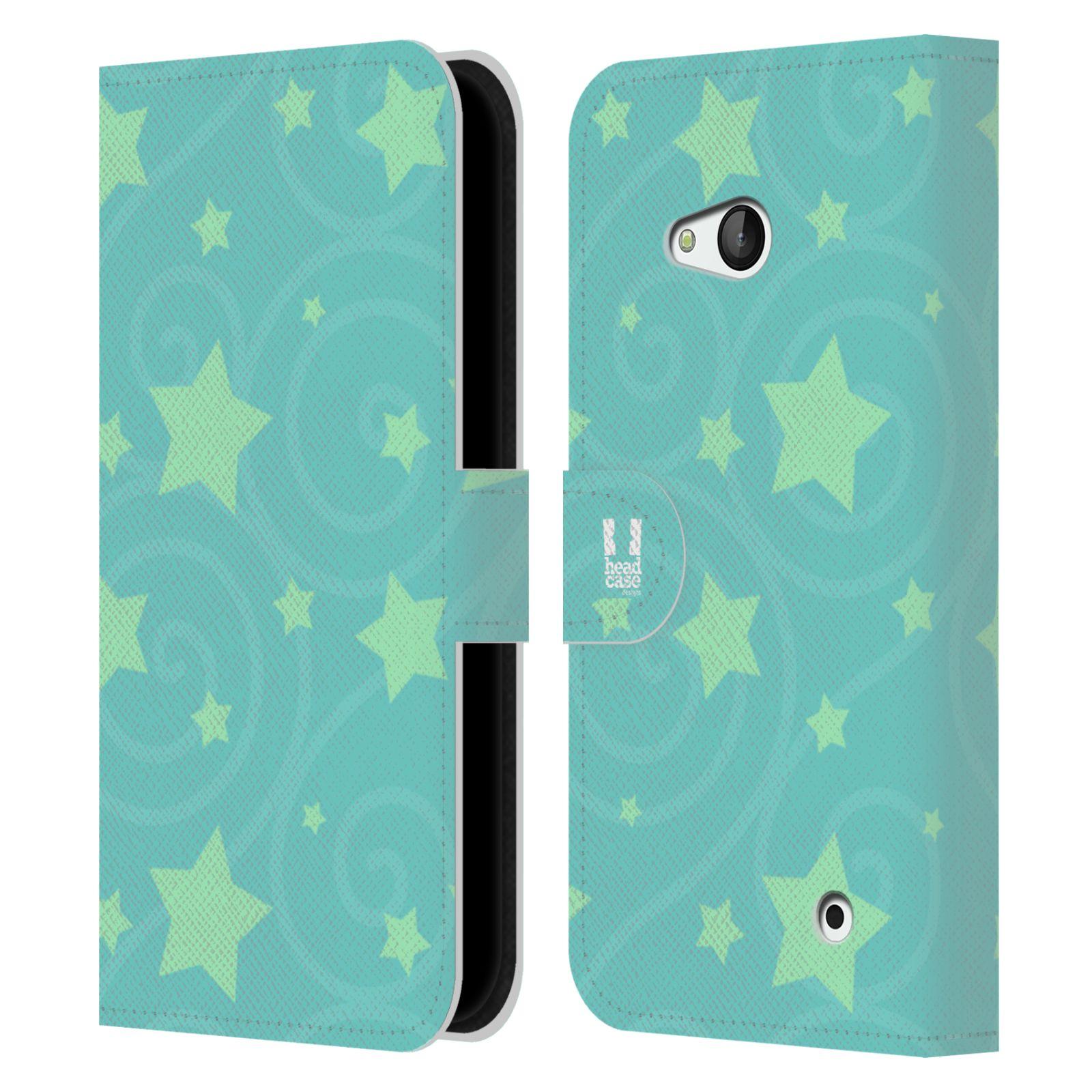 HEAD CASE Flipové pouzdro pro mobil NOKIA / MICROSOFT LUMIA 640 / LUMIA 640 DUAL vzor hvězdičky modrá