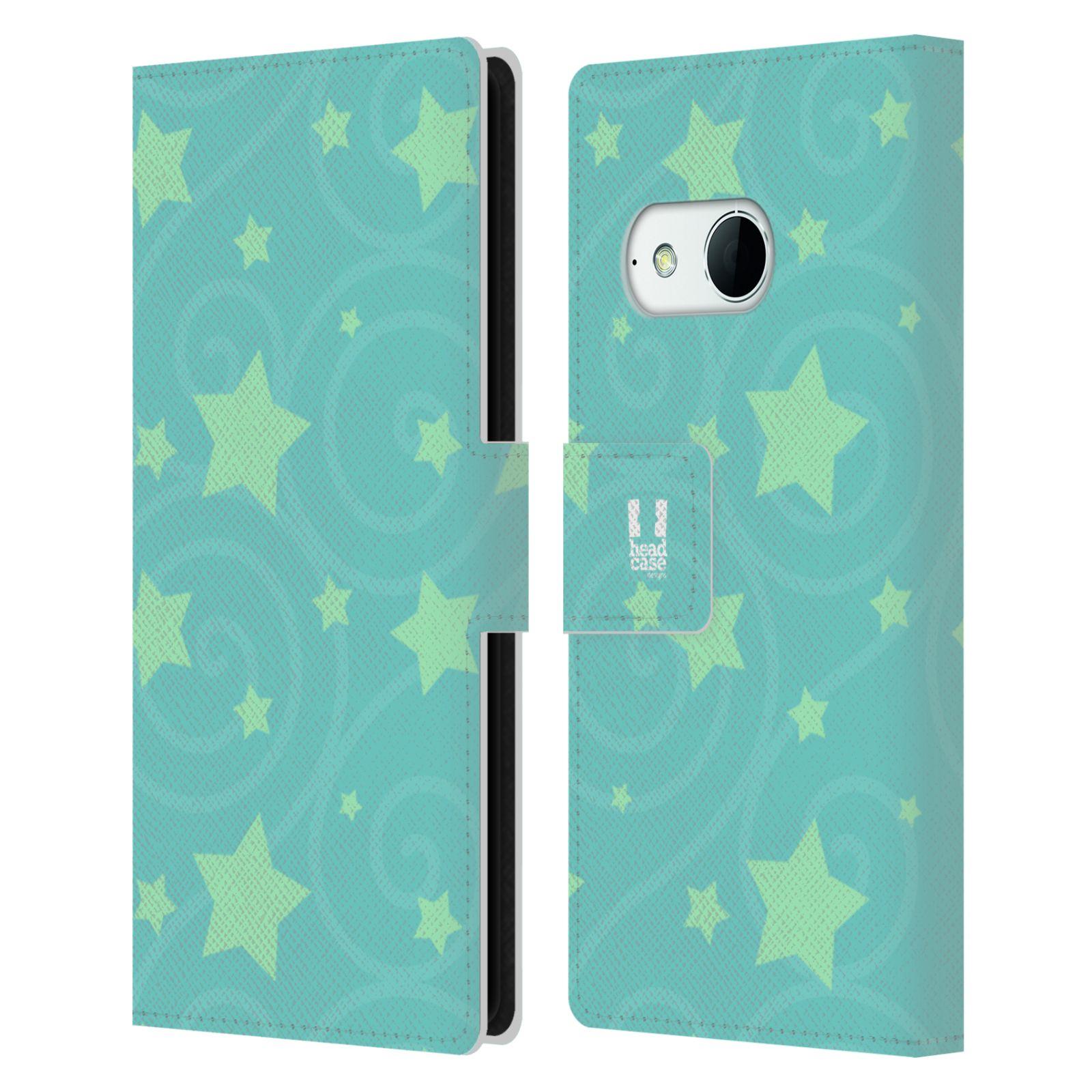 HEAD CASE Flipové pouzdro pro mobil HTC ONE MINI 2 (M8) vzor hvězdičky modrá