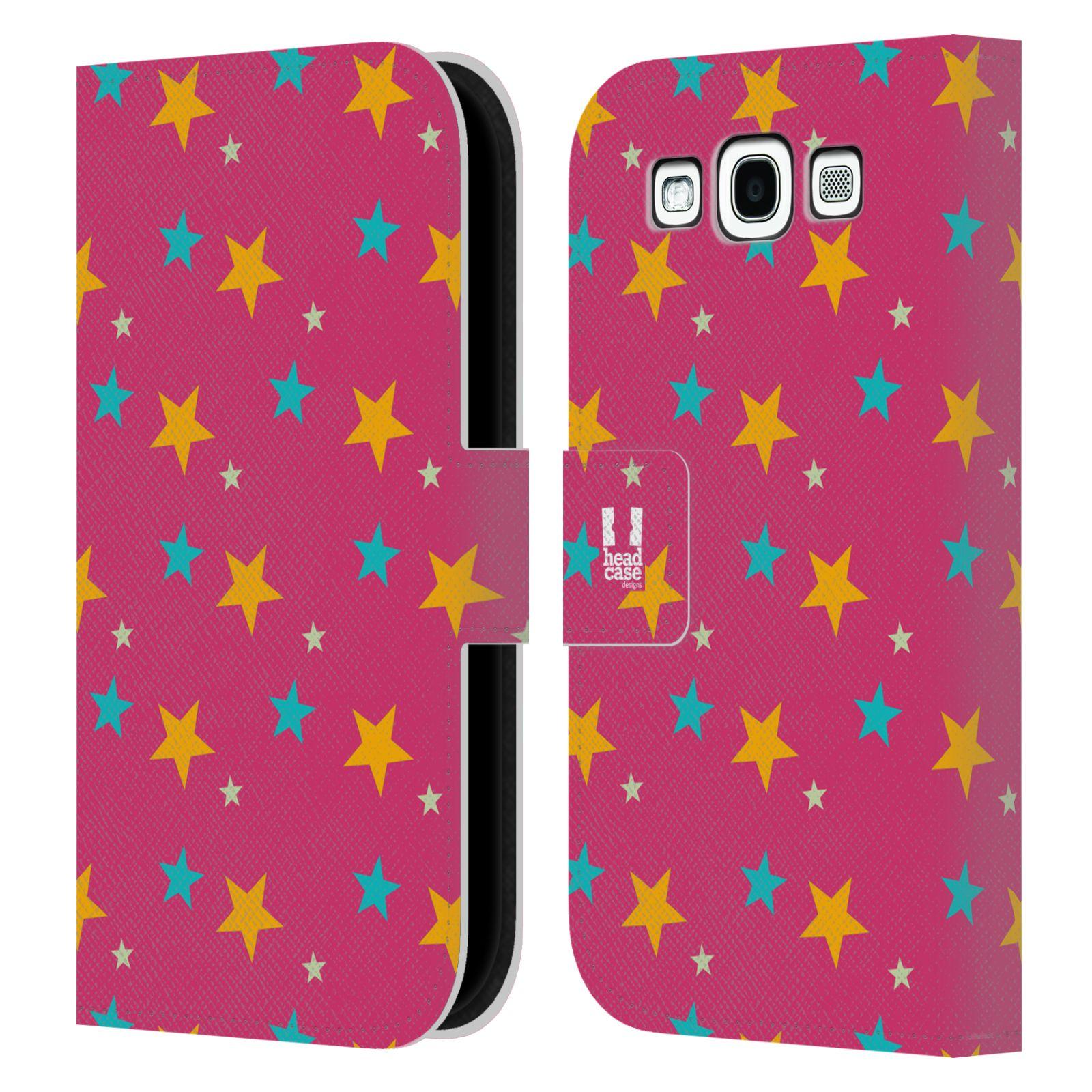 HEAD CASE Flipové pouzdro pro mobil Samsung Galaxy S3 vzor hvězdičky růžová a žlutá
