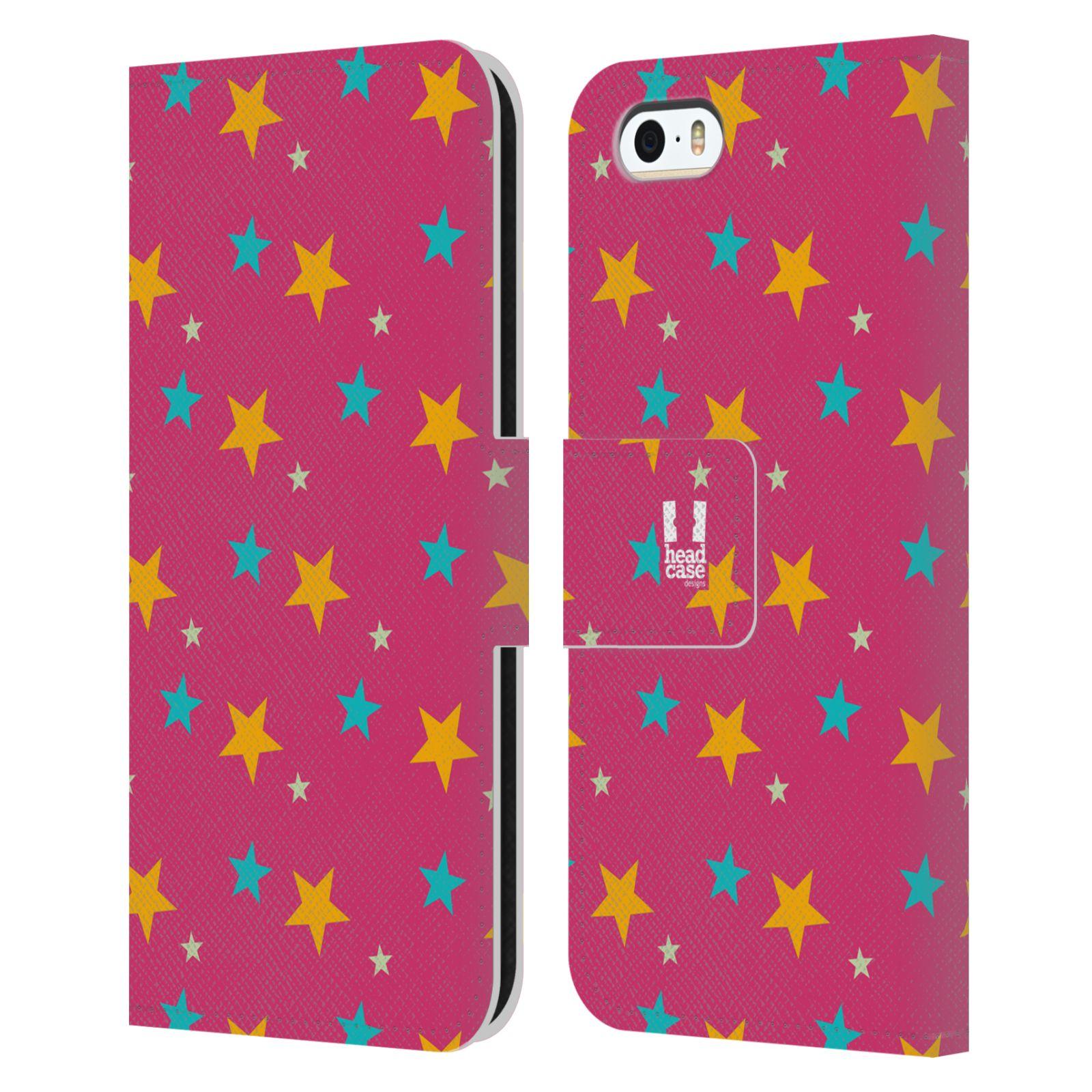 HEAD CASE Flipové pouzdro pro mobil Apple Iphone 5/5s vzor hvězdičky růžová a žlutá