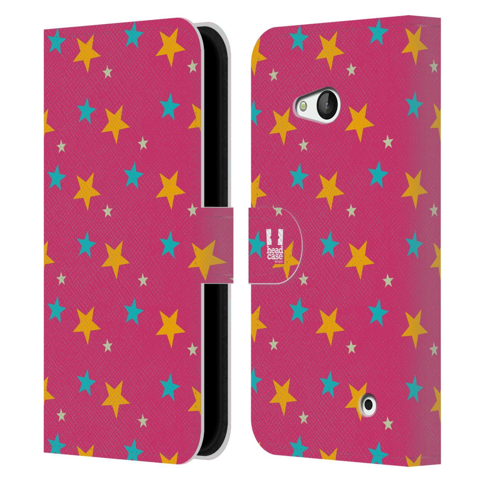 HEAD CASE Flipové pouzdro pro mobil NOKIA / MICROSOFT LUMIA 640 / LUMIA 640 DUAL vzor hvězdičky růžová a žlutá