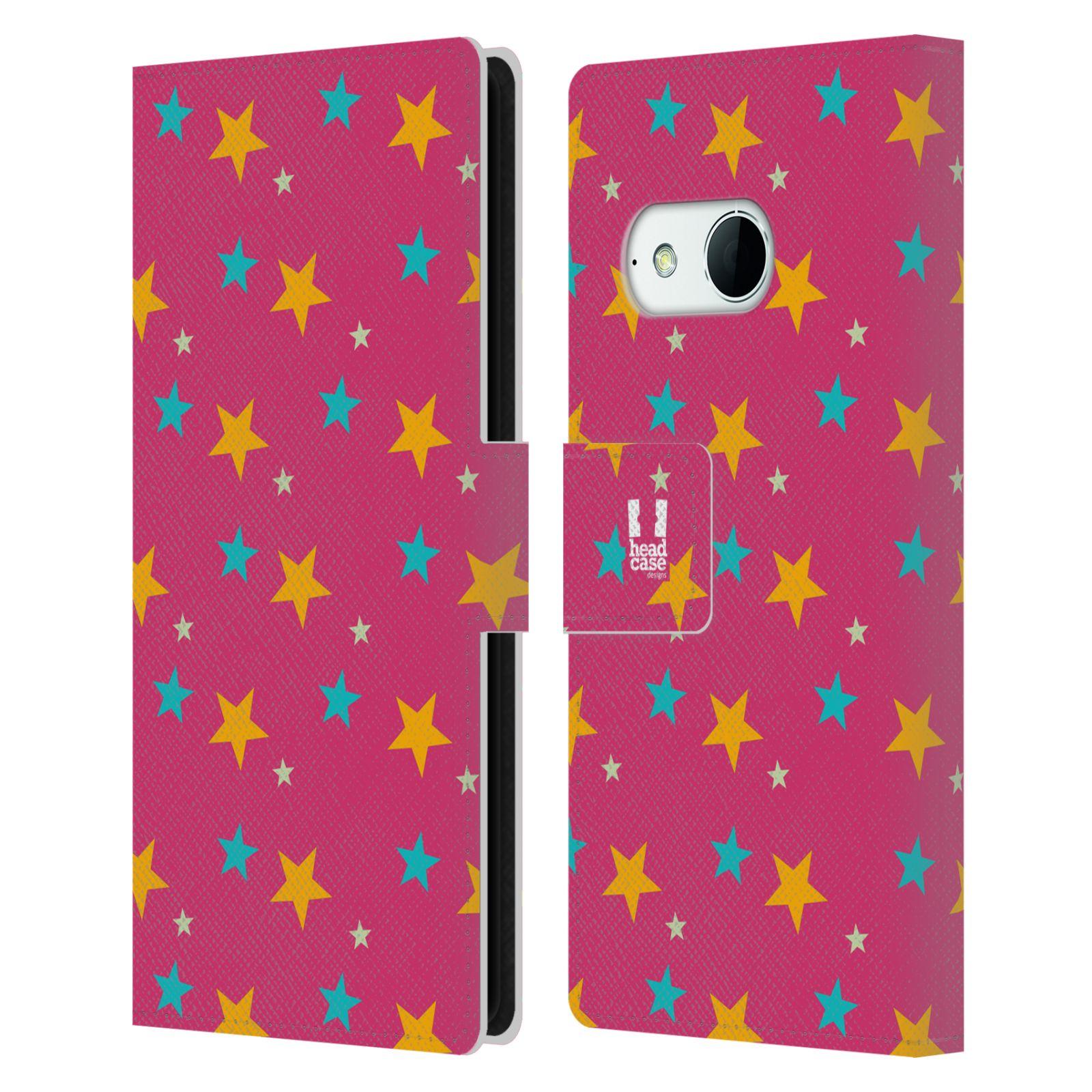HEAD CASE Flipové pouzdro pro mobil HTC ONE MINI 2 (M8) vzor hvězdičky růžová a žlutá