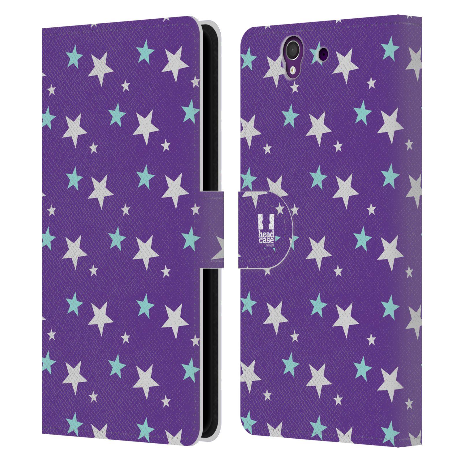 HEAD CASE Flipové pouzdro pro mobil SONY XPERIA Z (C6603) vzor hvězdičky fialová