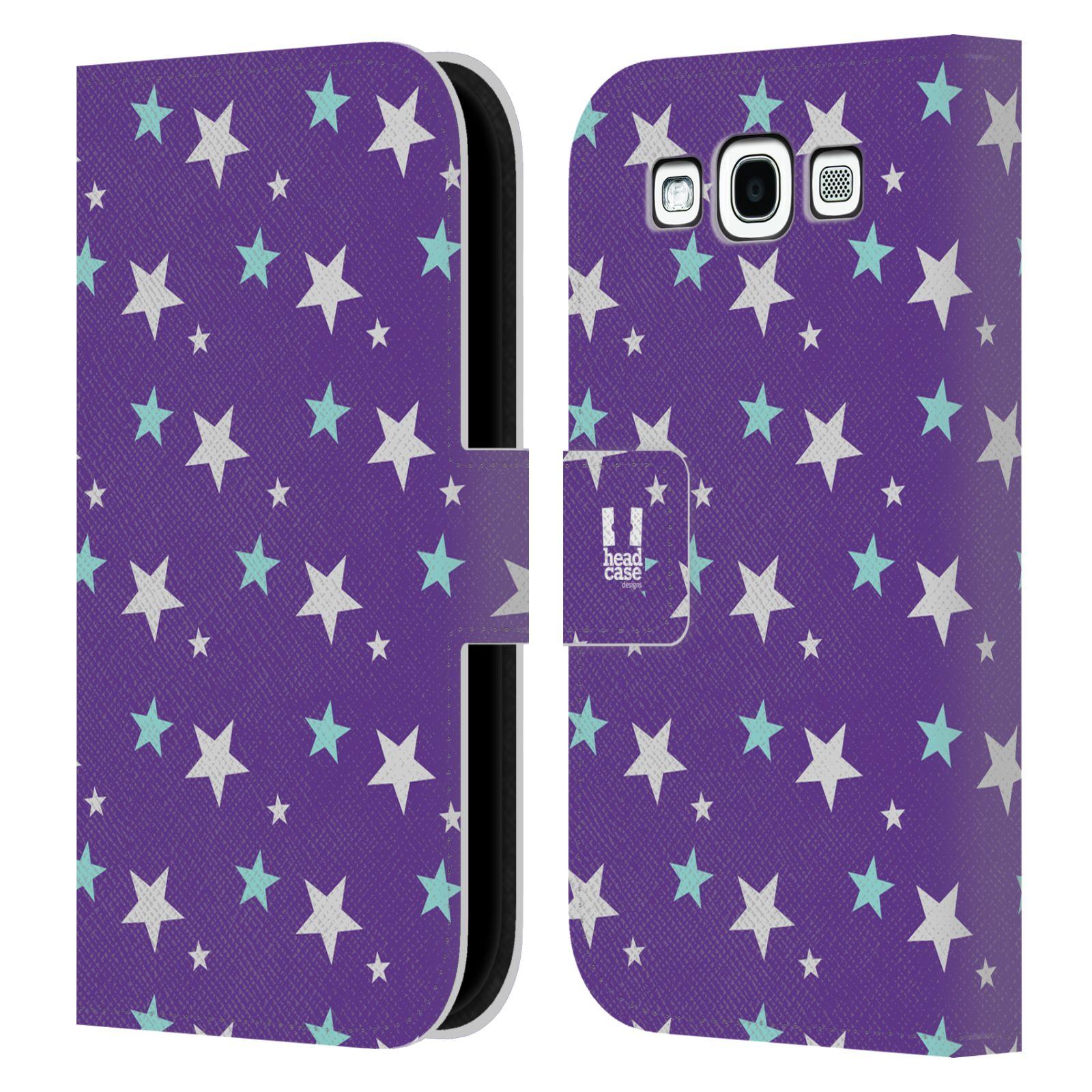 HEAD CASE Flipové pouzdro pro mobil Samsung Galaxy S3 vzor hvězdičky fialová