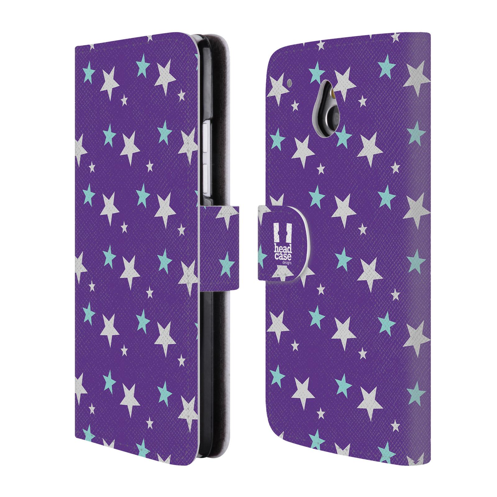 HEAD CASE Flipové pouzdro pro mobil HTC ONE MINI (M4) vzor hvězdičky fialová