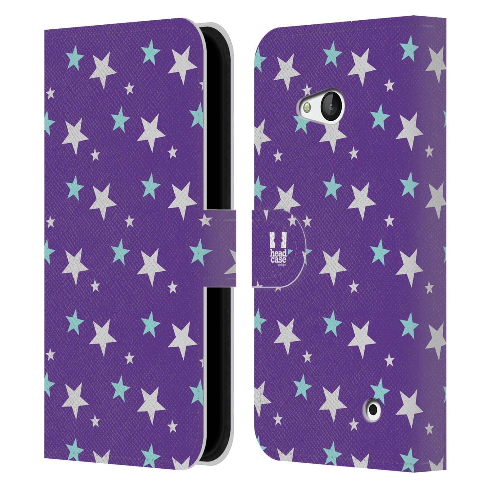 HEAD CASE Flipové pouzdro pro mobil NOKIA / MICROSOFT LUMIA 640 / LUMIA 640 DUAL vzor hvězdičky fialová