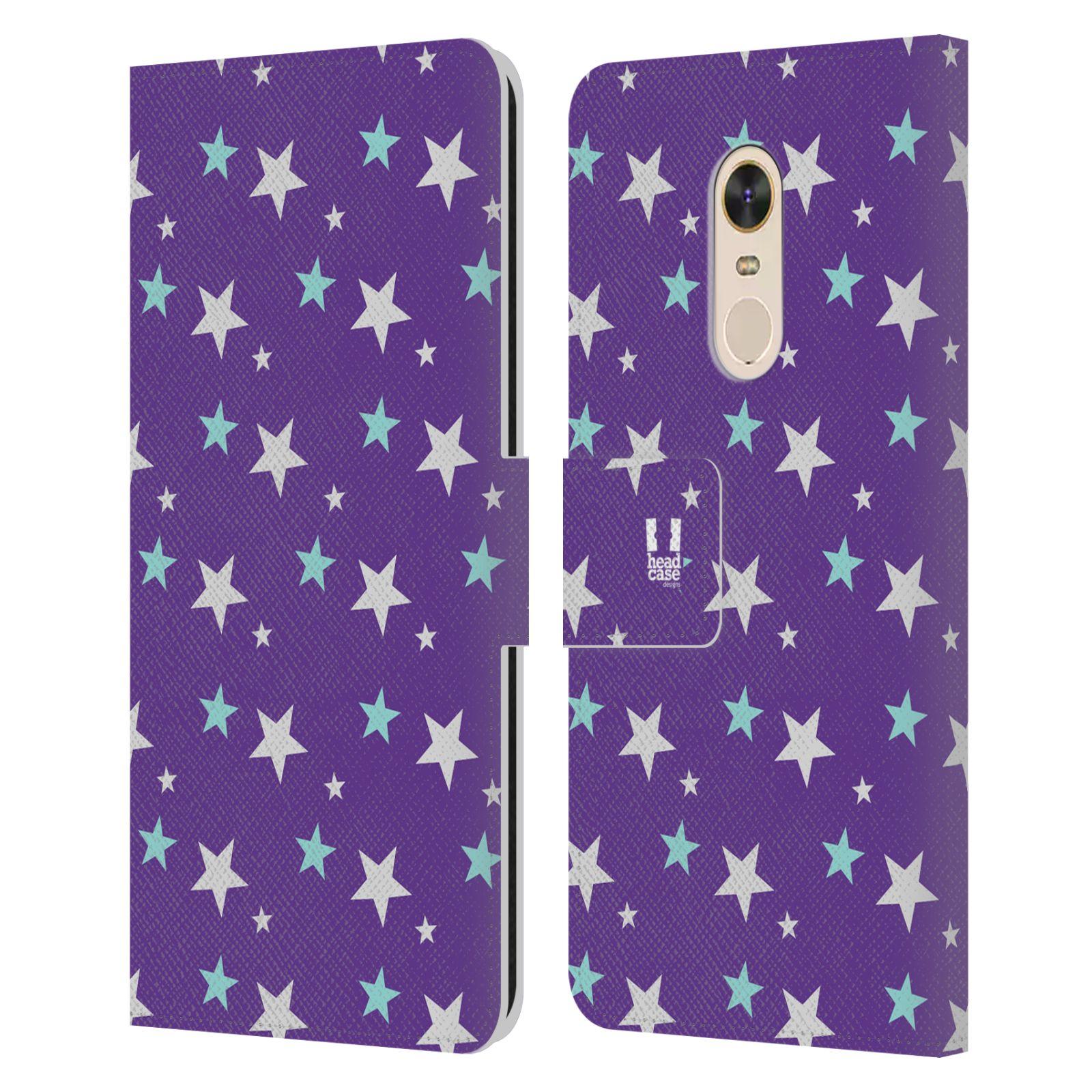 HEAD CASE Flipové pouzdro pro mobil Xiaomi Redmi Note 5 vzor hvězdičky fialová