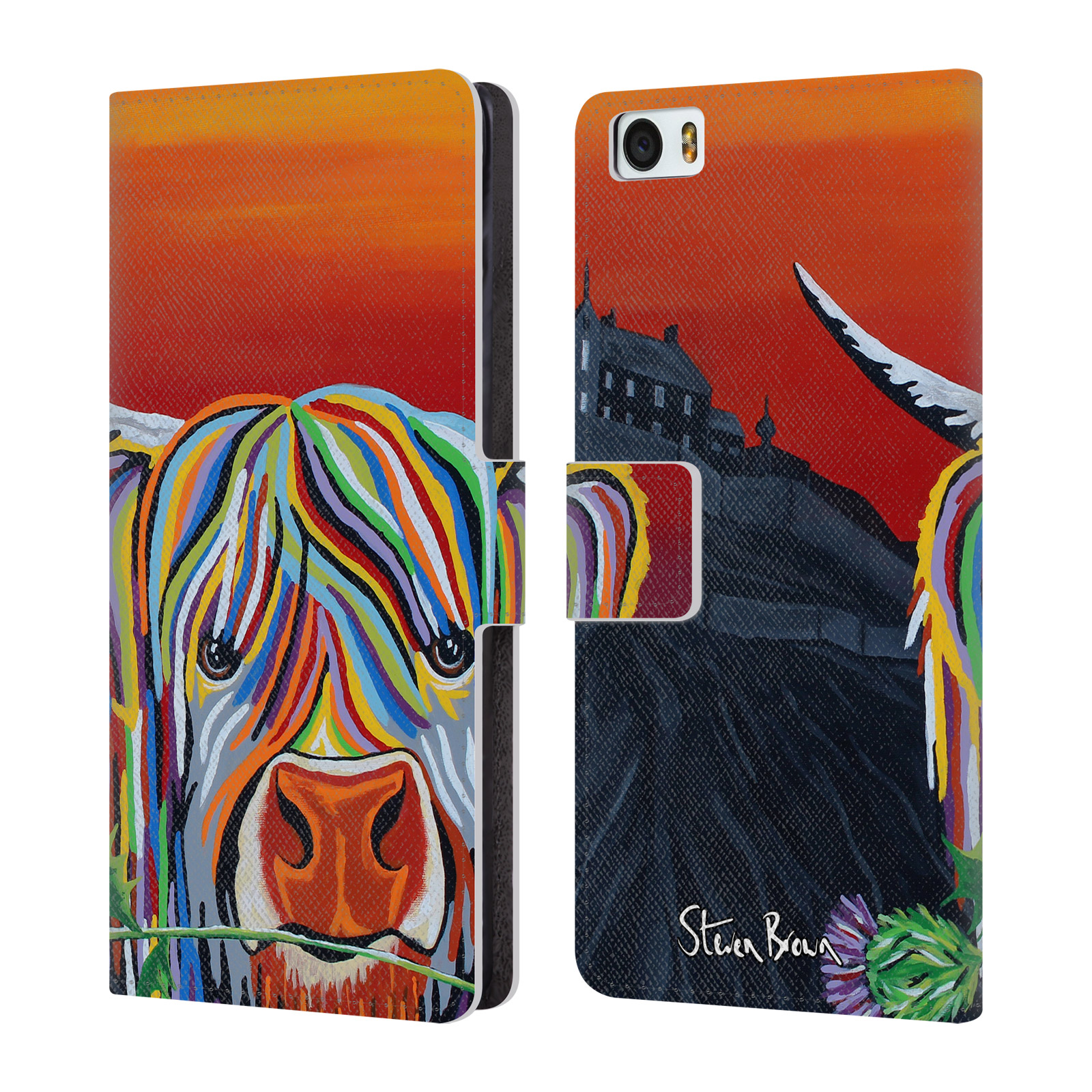 OFFICIAL-STEVEN-BROWN-HIGHLAND-COW-2-LEATHER-BOOK-WALLET-CASE-FOR-XIAOMI-PHONES