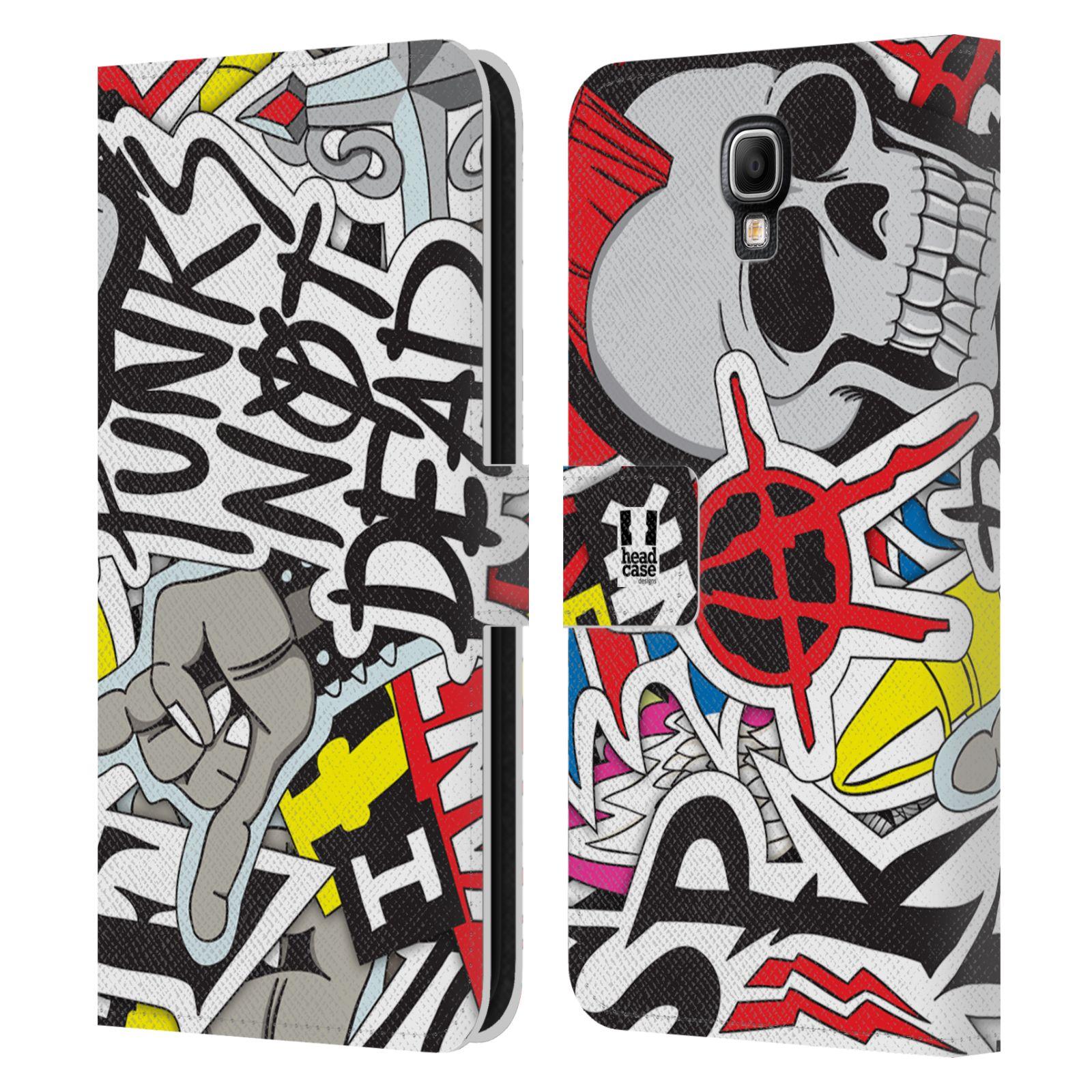 HEAD CASE Flipové pouzdro pro mobil Samsung Galaxy Note 3 NEO (N7505) vzor STICKER nálepky PUNK IS NOT DEAD