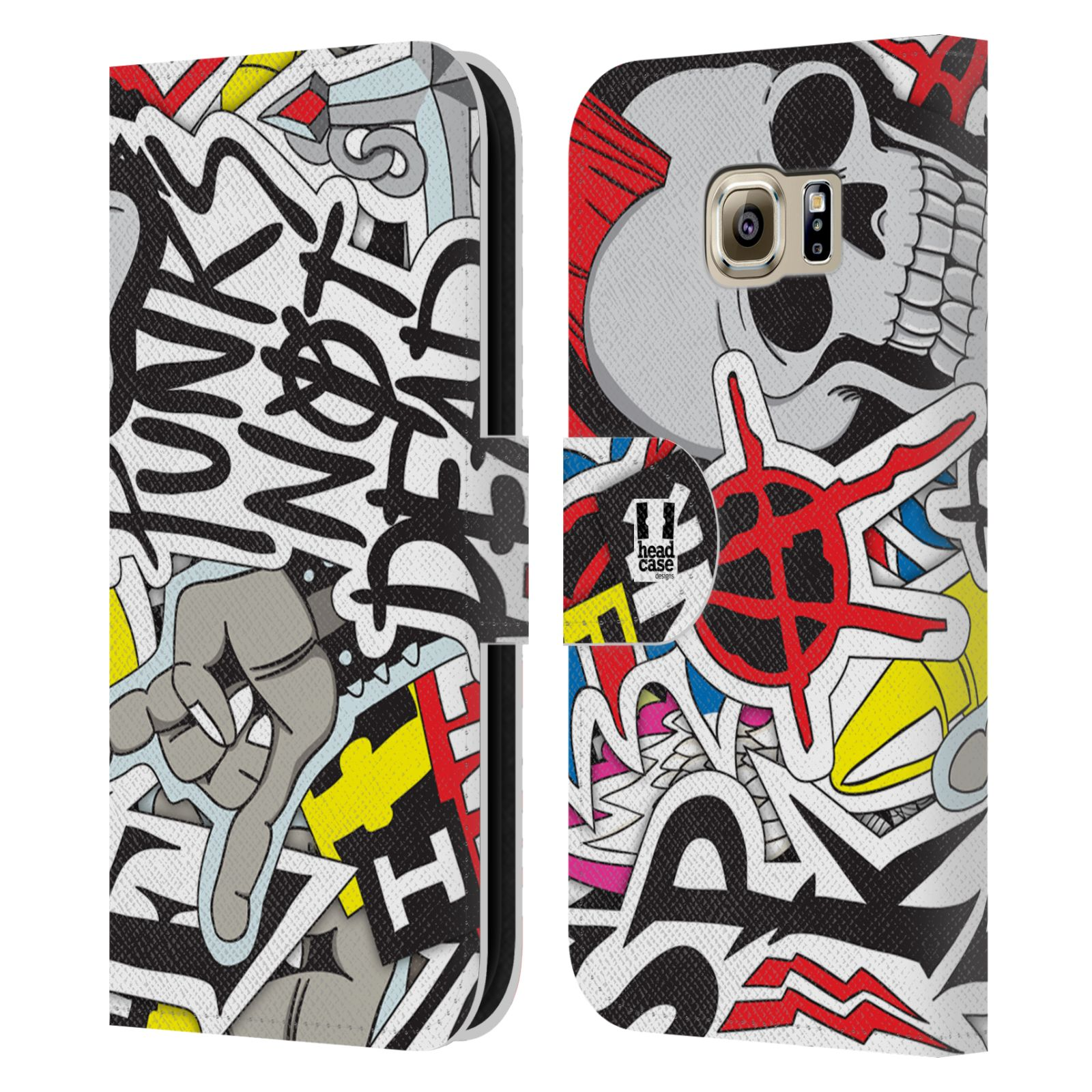 HEAD CASE Flipové pouzdro pro mobil Samsung Galaxy S6 (G9200) vzor STICKER nálepky PUNK IS NOT DEAD