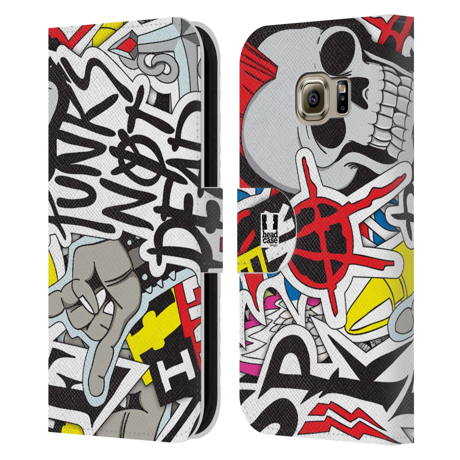 HEAD CASE Flipové pouzdro pro mobil Samsung Galaxy S6 EDGE vzor STICKER nálepky PUNK IS NOT DEAD